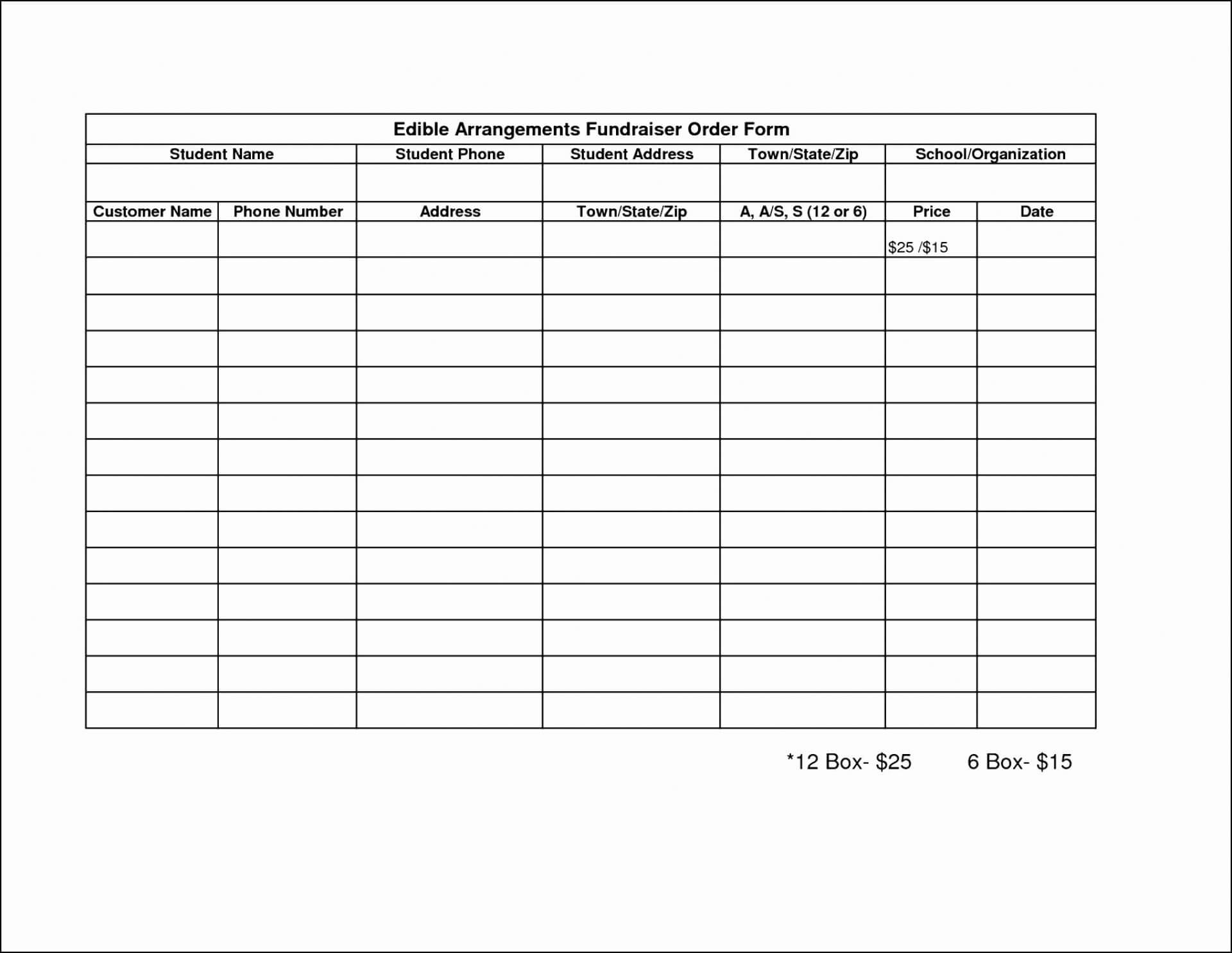001 Template Ideas Blank Fundraiser Order Form Formidable Regarding Blank Fundraiser Order Form Template