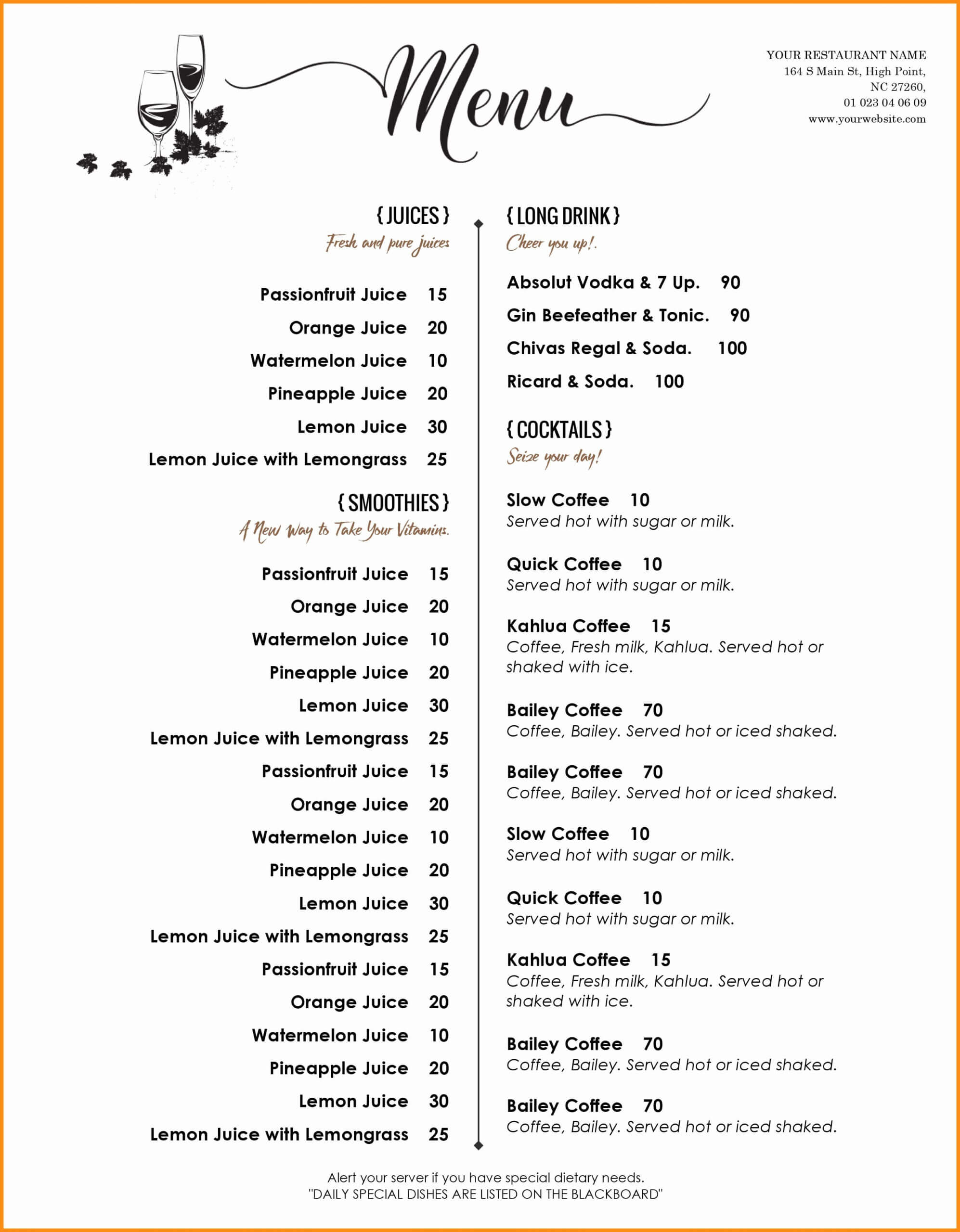 002 Menu Template Free Word Ideas Del Ray Imposing Weekly Pertaining To Free Cafe Menu Templates For Word
