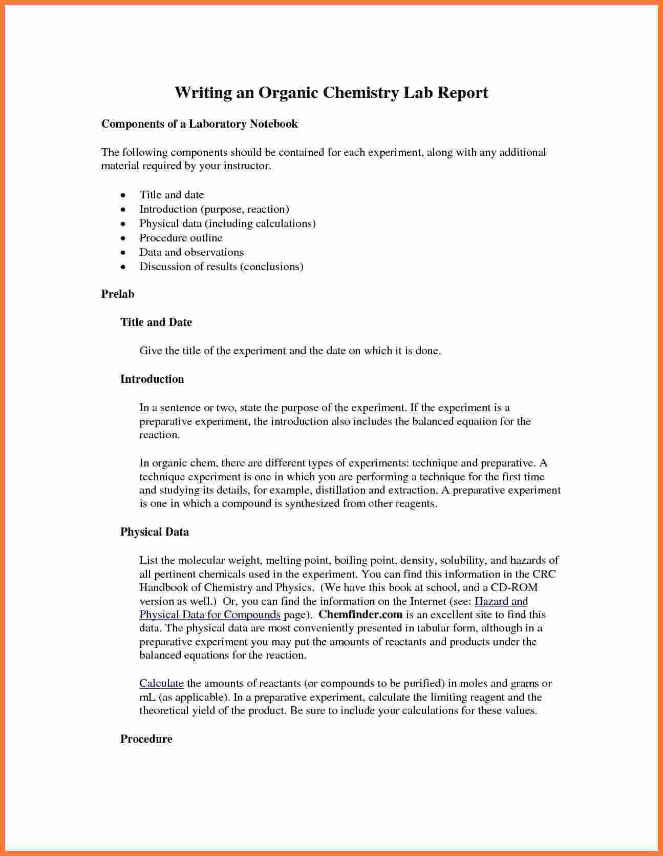 003 Organic Chemistry Lab Report Example Also Ibmistry Intended For Chemistry Lab Report Template