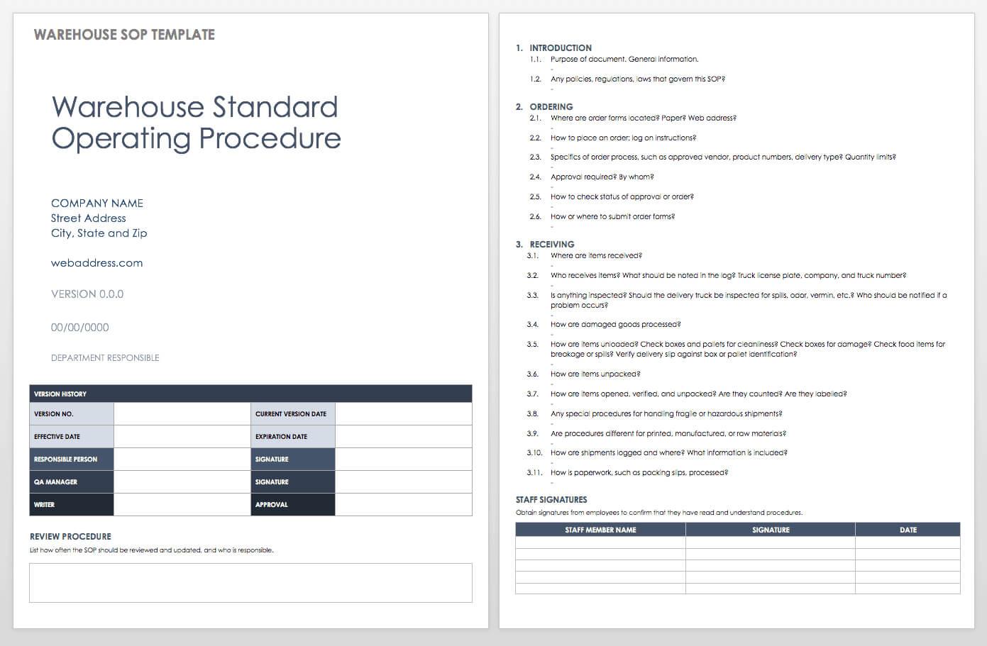 003 Standard Operating Procedure Template Word Ic Warehouse Within Free Standard Operating Procedure Template Word 2010