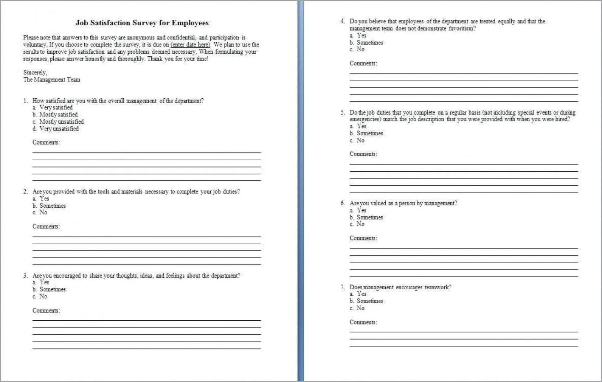 005 Employee Satisfaction Questionnaire Template Word Ideas Inside Employee Satisfaction Survey Template Word