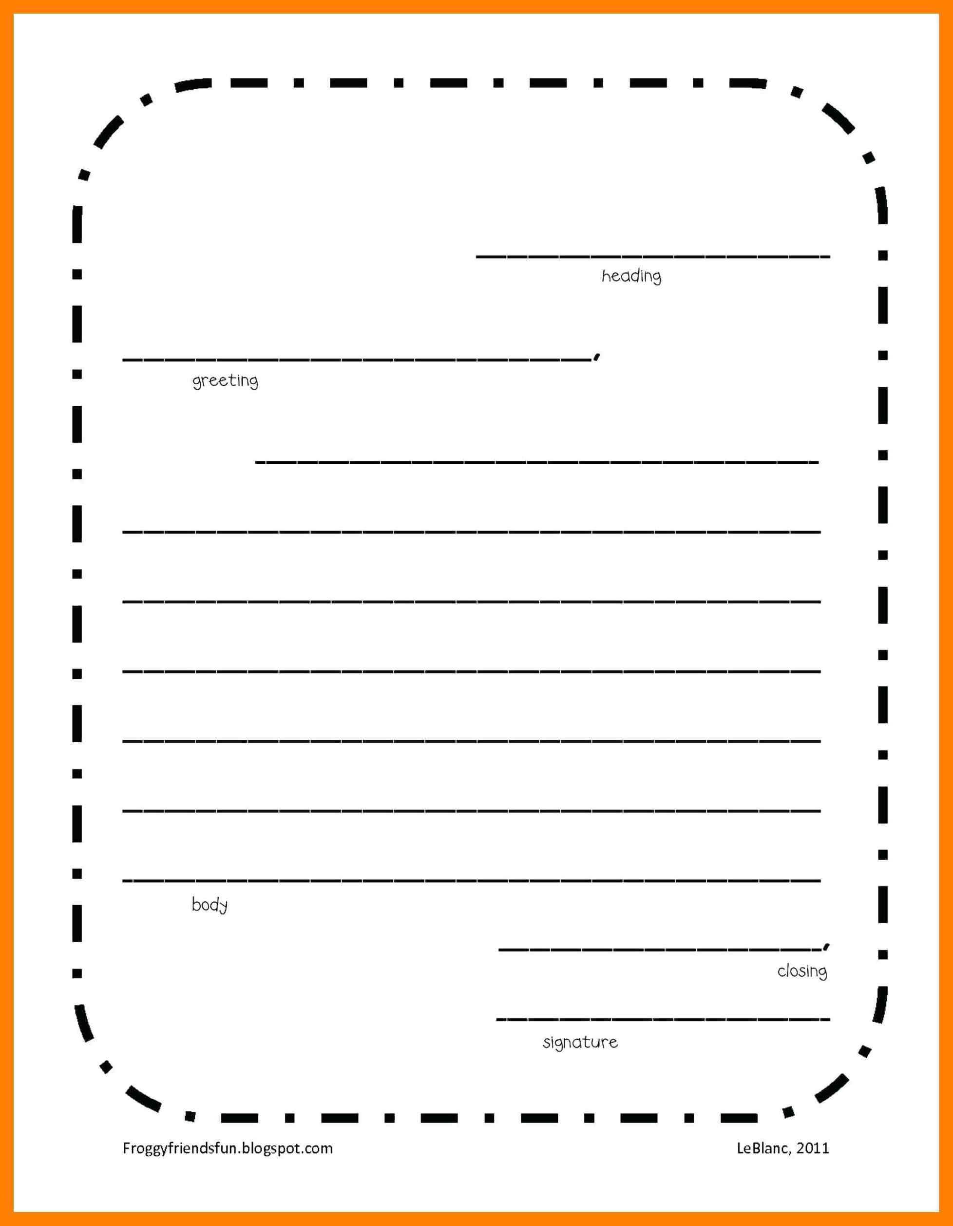 006 Free Letter Writing Template Ideas Friendly 2Nd Grade For Blank Letter Writing Template For Kids