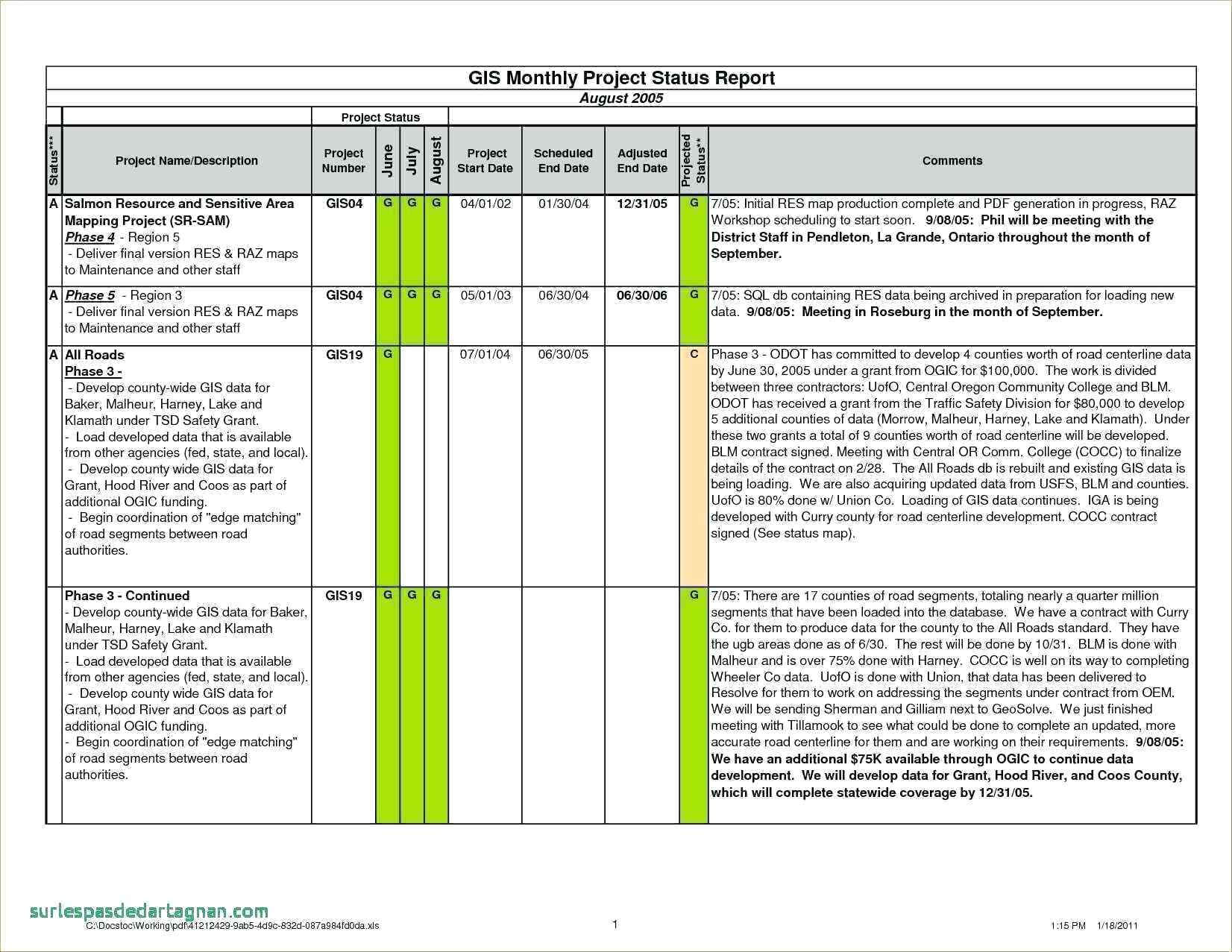 006 Project Status Report Template Excel 20Project Progress Regarding Project Status Report Template In Excel