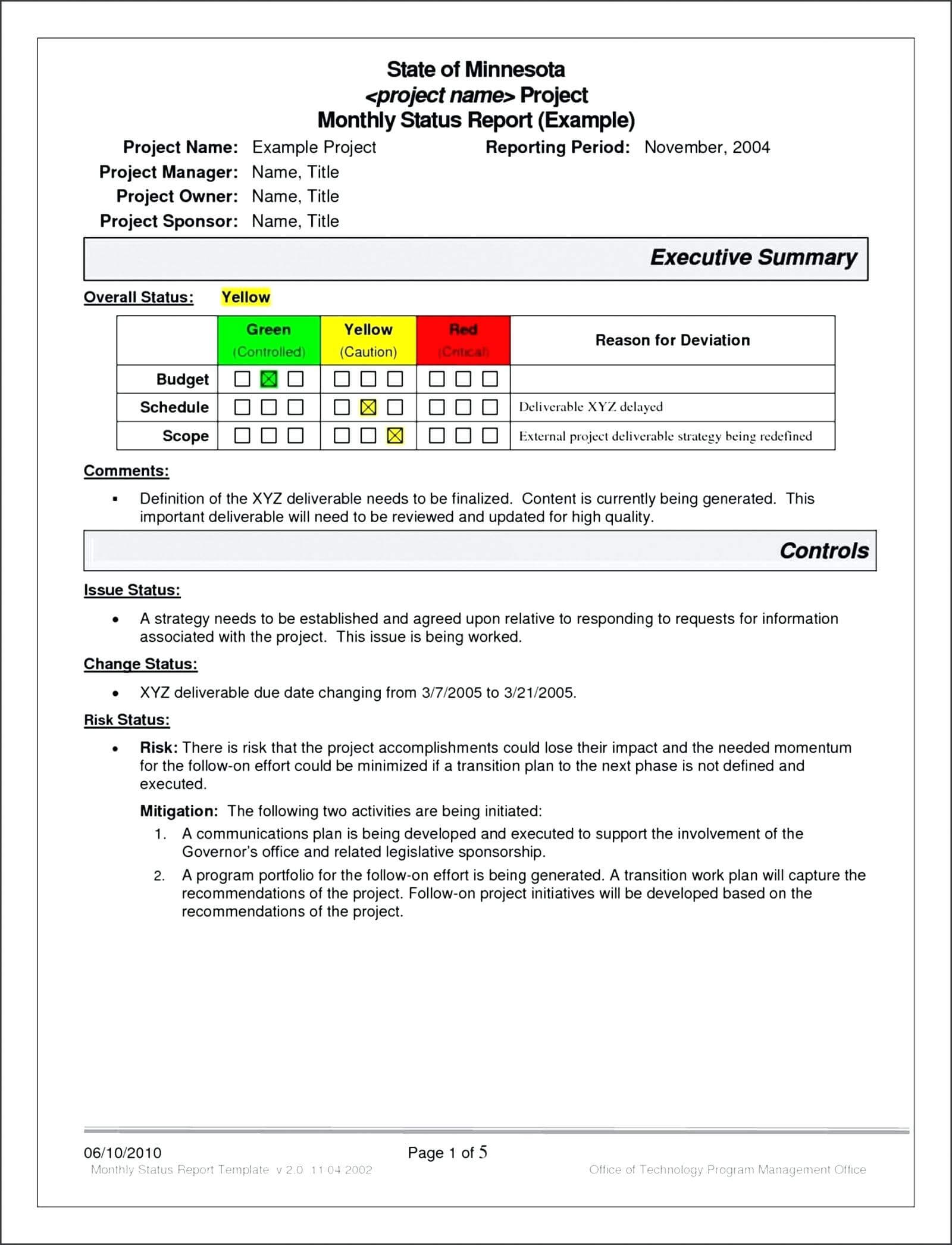 007 Project Status Report Template Excel Monthly Agile Pertaining To Project Monthly Status Report Template