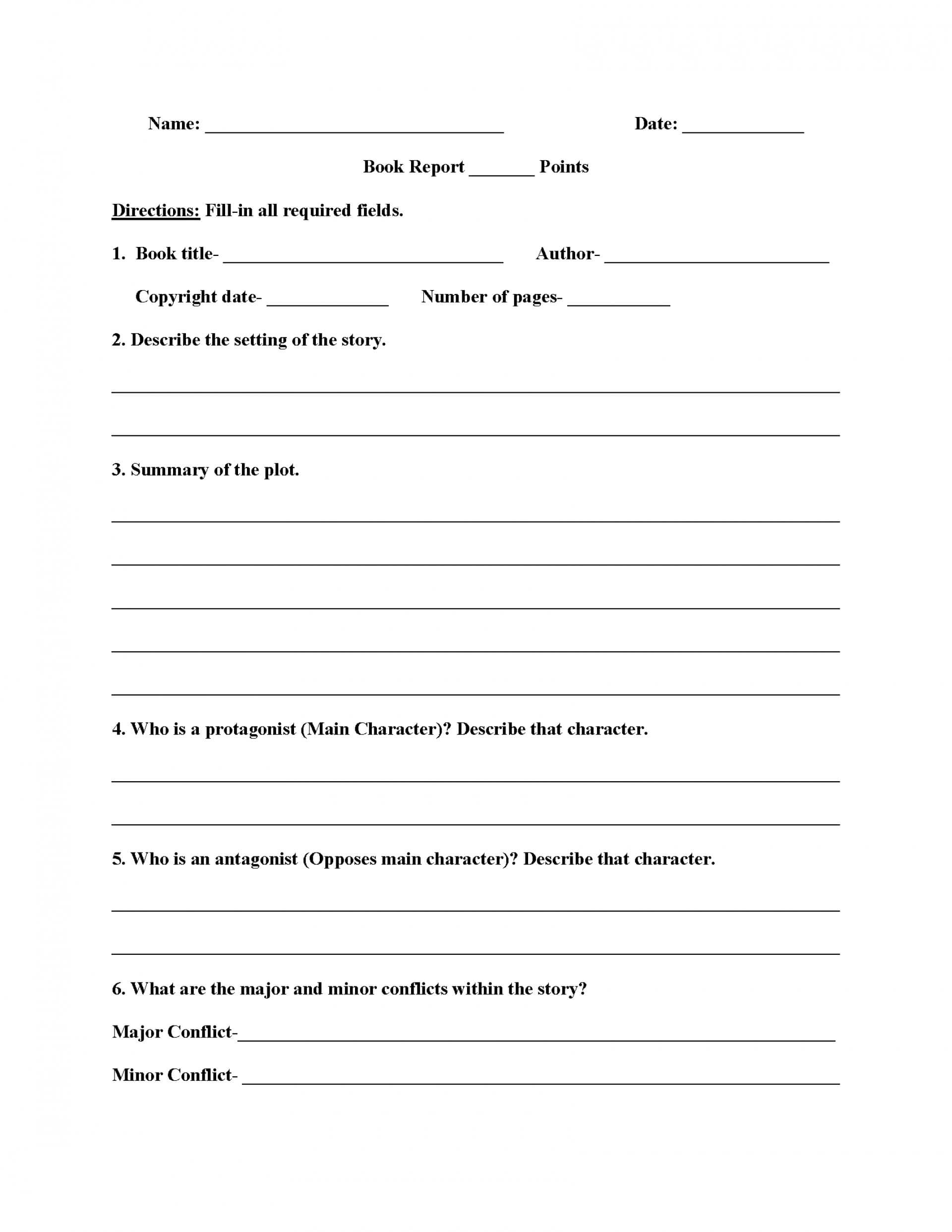 010 6Th Grade Book Report Template Ideas 3Rd Pdf Best Of In Book Report Template Grade 1
