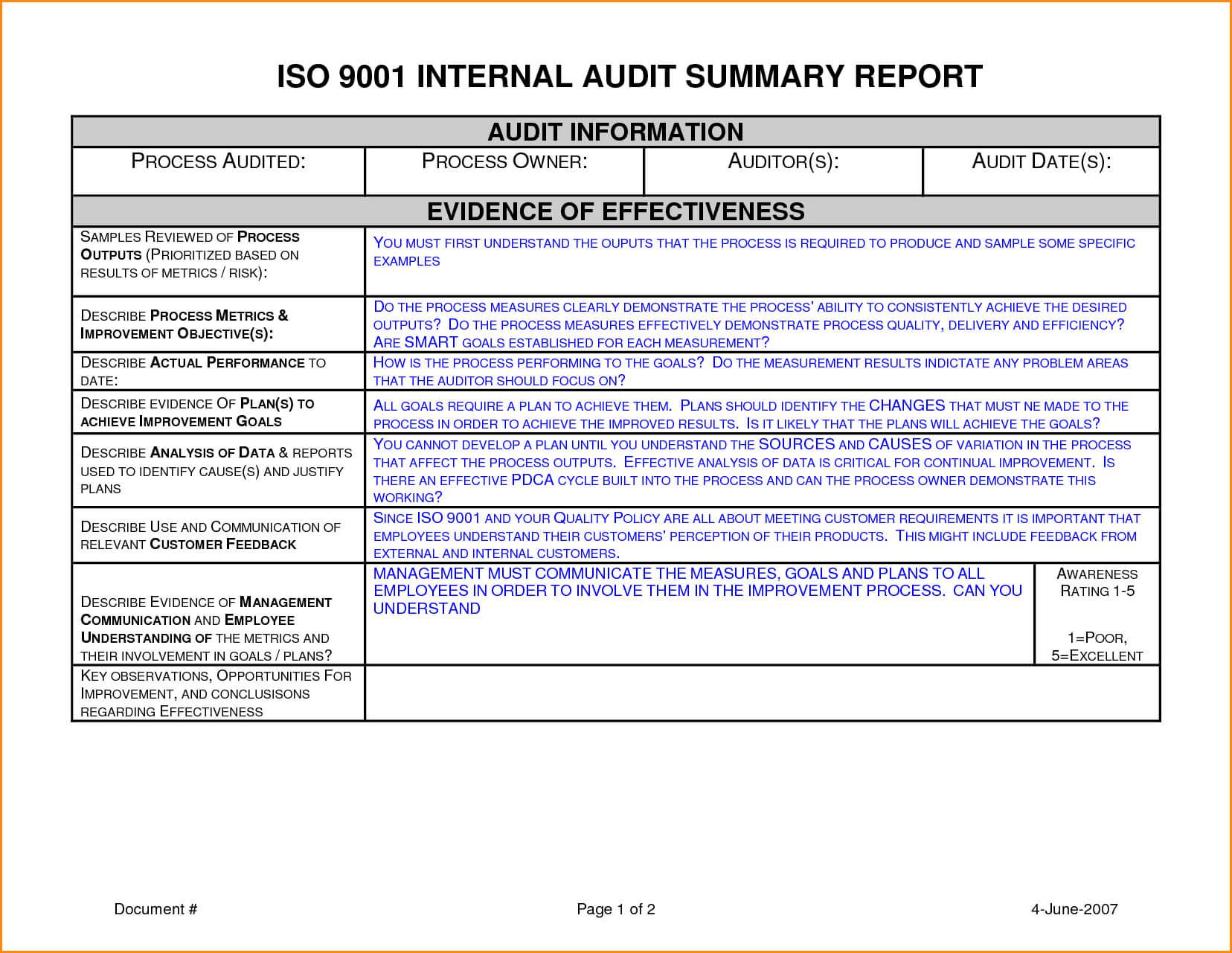 012 Template Ideas Internal Audit Report Sample Unbelievable Regarding Internal Audit Report Template Iso 9001