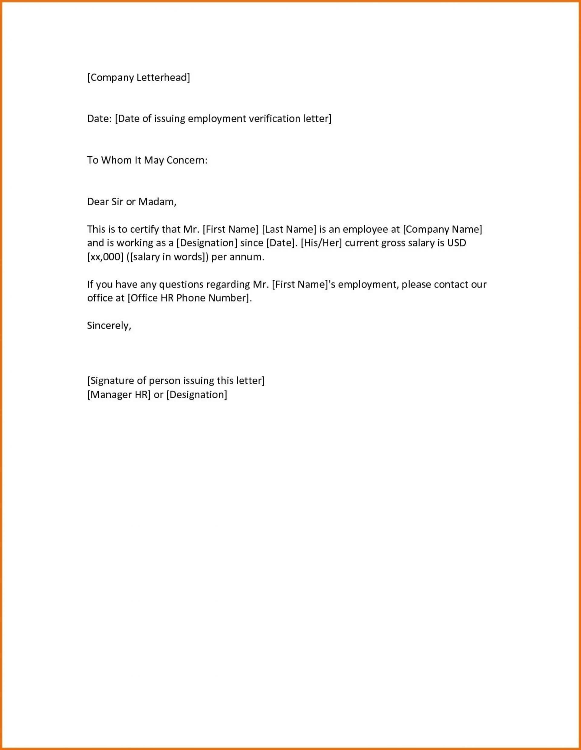 013 Employment Verification Letter Template Word Free Ideas Regarding Employment Verification Letter Template Word