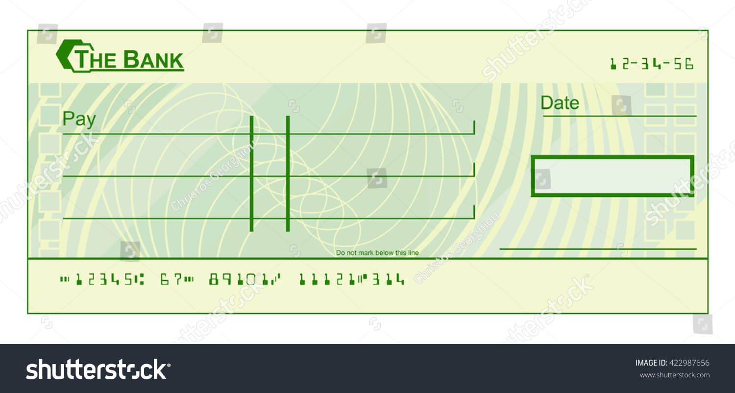 017 Stock Photo Blank Cheque Check Template Illustration Pdf Throughout Blank Cheque Template Uk