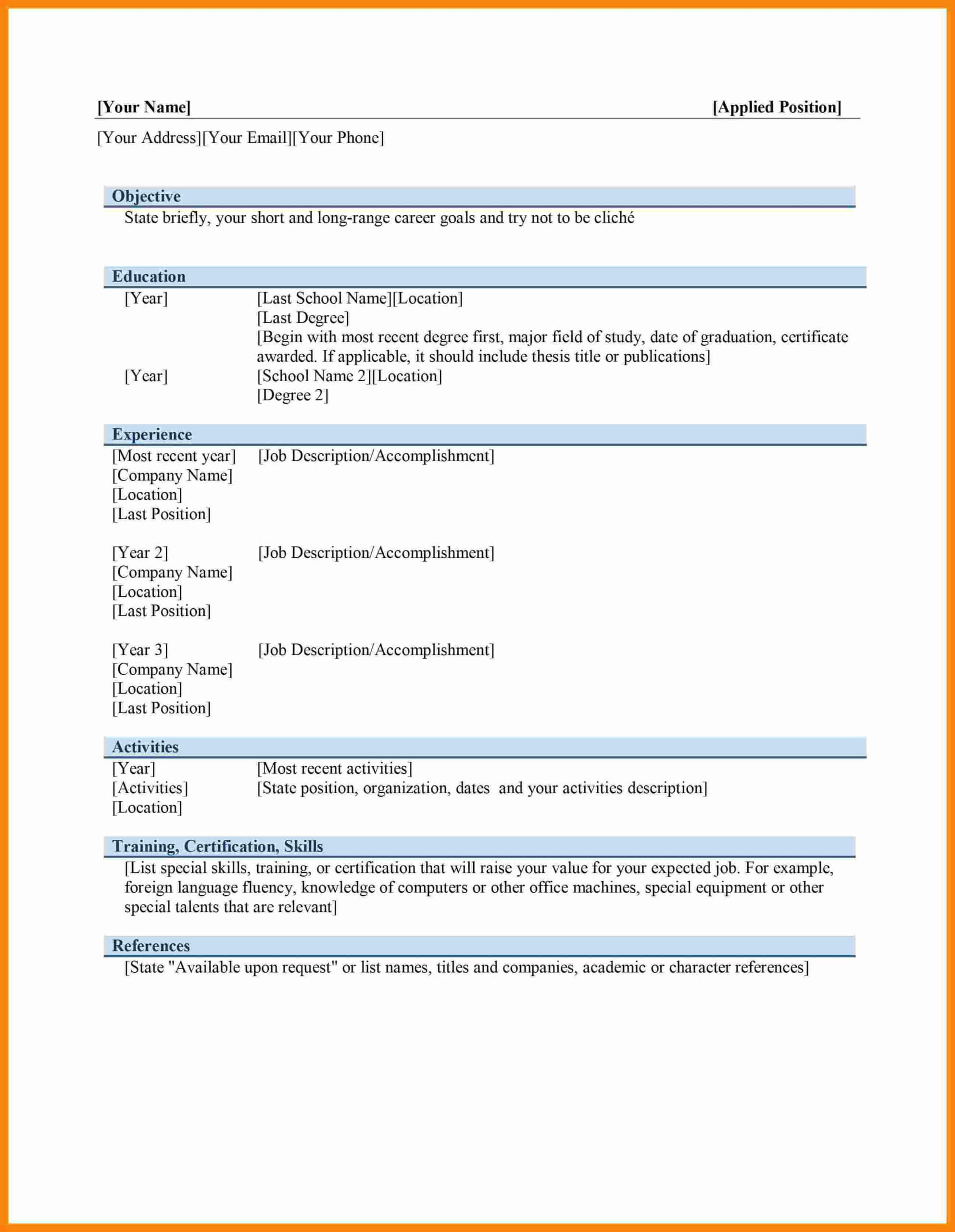 020 Cv Format With Picture In Ms Word Free Download Striking Regarding Ms Word Thesis Template