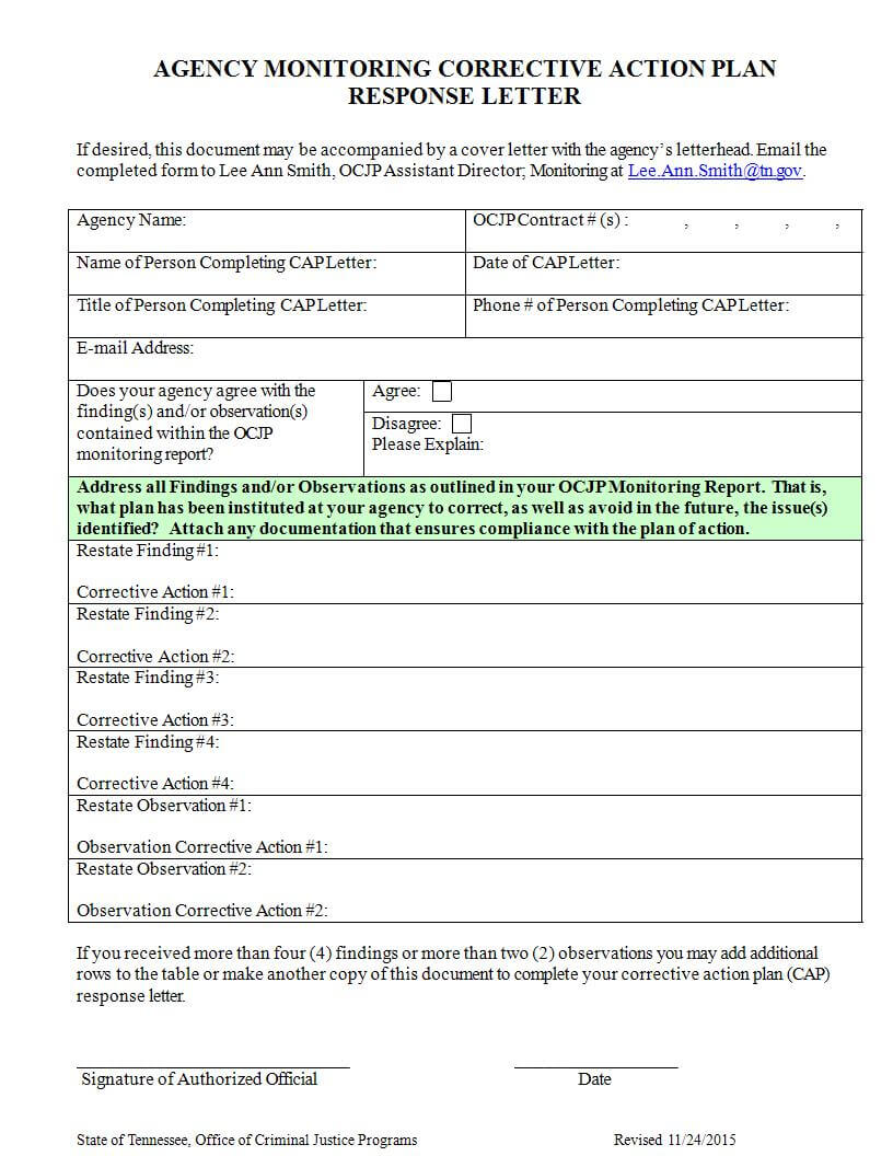 025 Template Ideas Corrective Action Report Agency Inside Compliance Monitoring Report Template