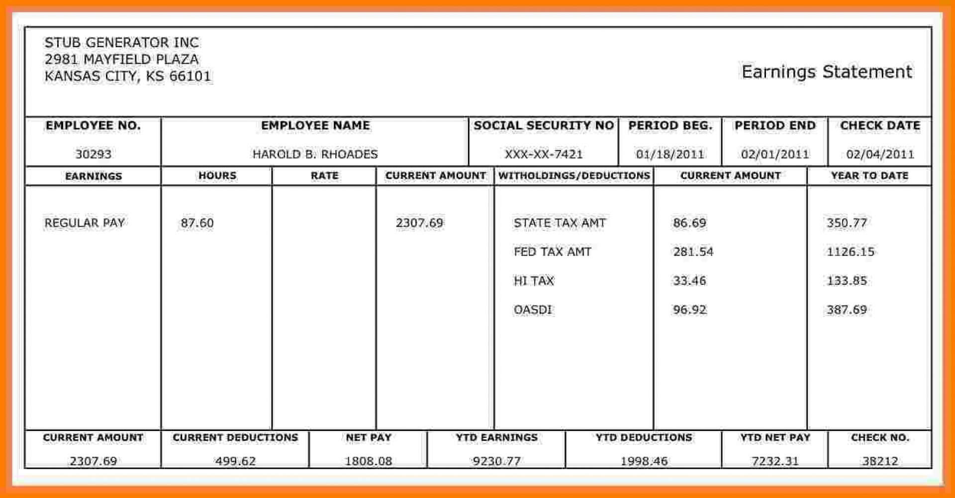 026 Large Template Ideas Download Free Pay Stub For Within Free Pay Stub Template Word