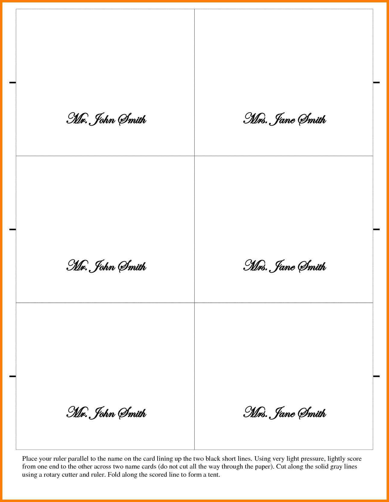 026 Place Cards Template Word Ideas Table Card Tent New Regarding Tent Name Card Template Word