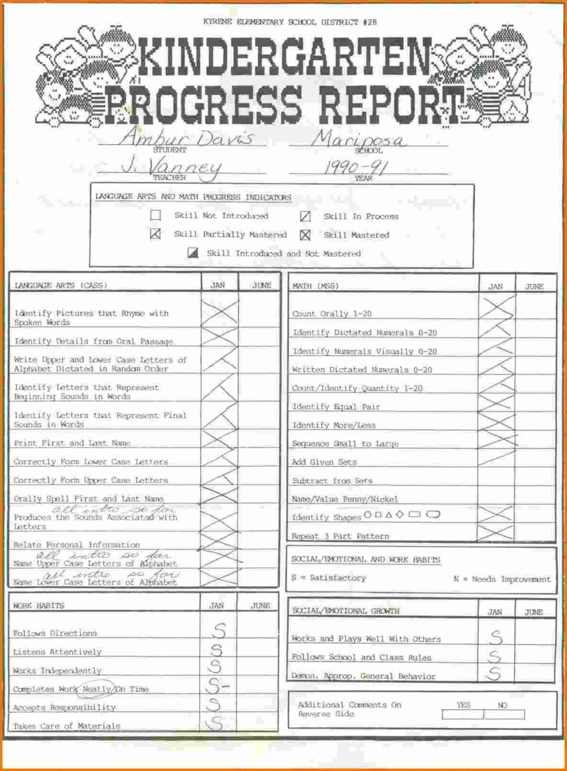 027 Kindergarten Report Card Template Ideas Screen Shot At Regarding Kindergarten Report Card Template