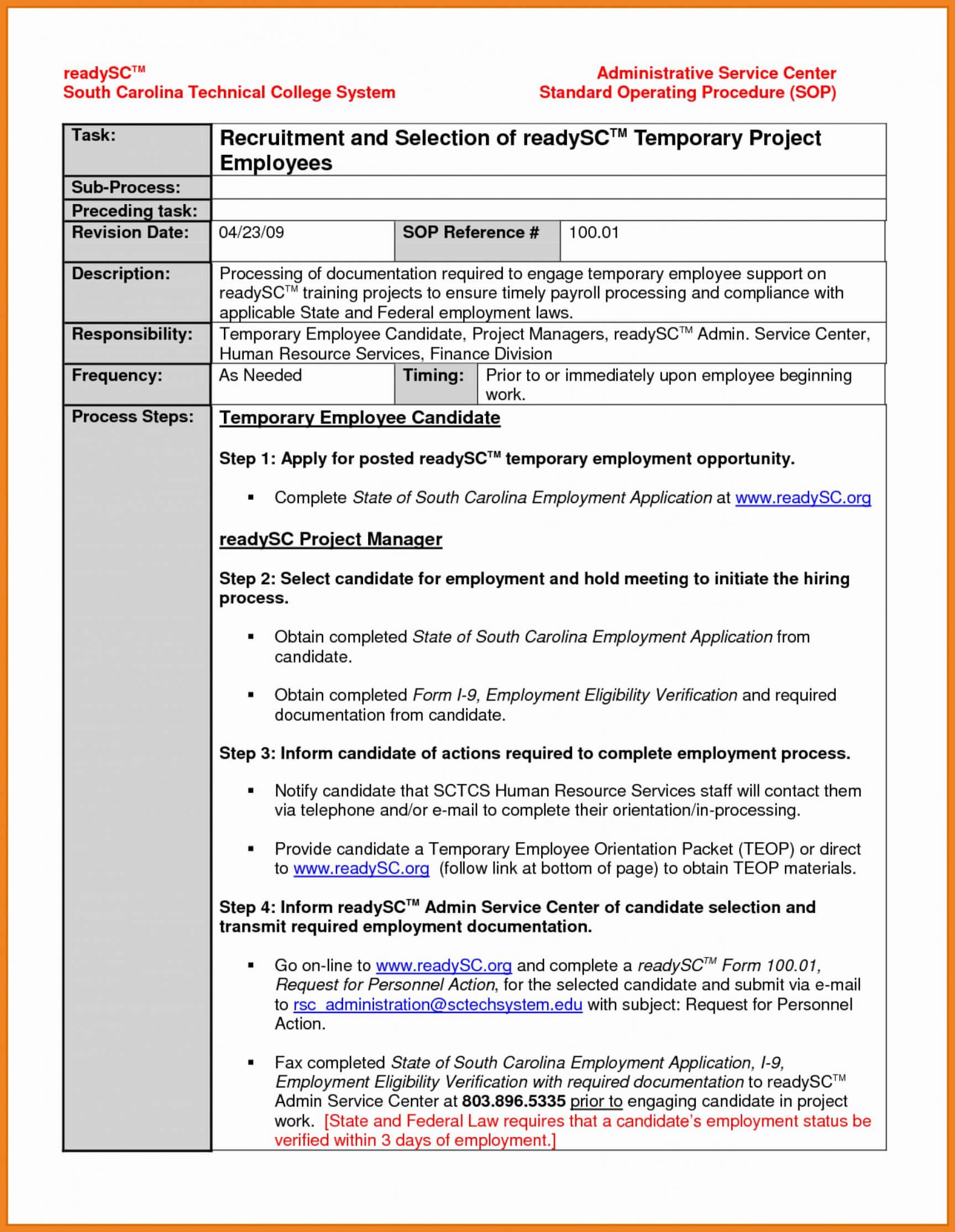 027 Standard Operating Procedure Template Word Free With Free Standard Operating Procedure Template Word 2010