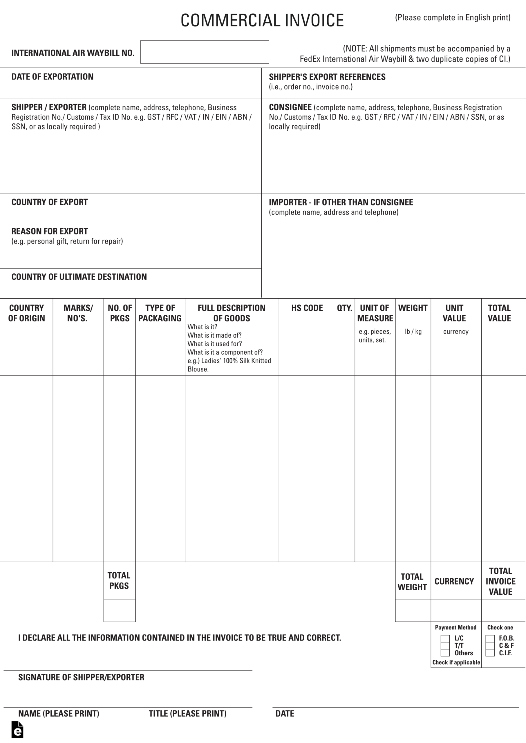 027 Ups Commercial Invoice Form Pdf Example Forms Canada For Commercial Invoice Template Word Doc