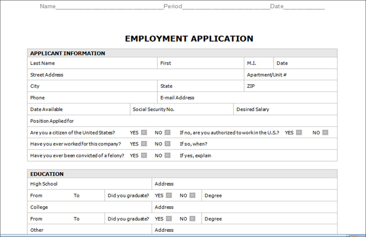 030 Free Employment Applications Template Ideas Job Regarding Employment Application Template Microsoft Word
