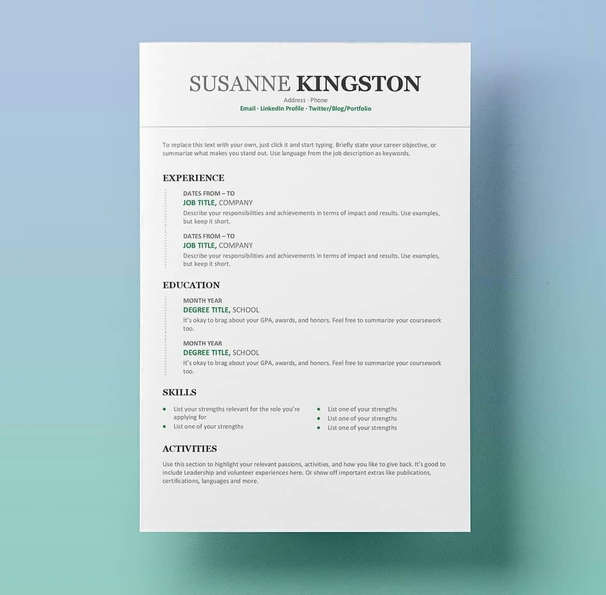 11 Free Professional Resume Templates Microsoft Word Format Intended For Free Resume Template Microsoft Word