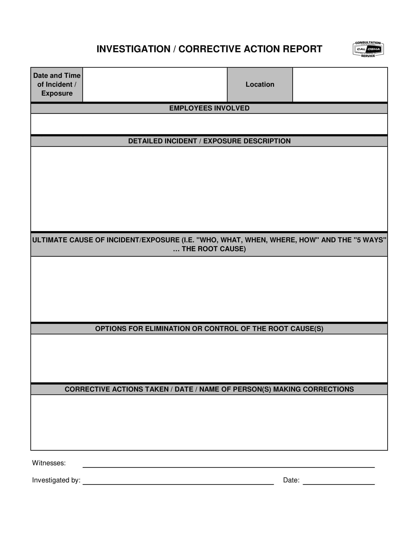 12+ Corrective Action Report Examples - Pdf | Examples Intended For Corrective Action Report Template