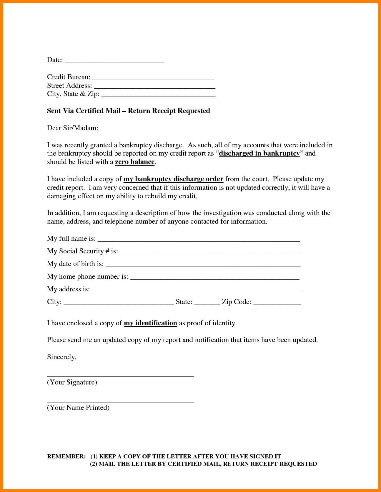 13 Images Of Dispute Credit Report Form Template Regarding Credit Report Dispute Letter Template