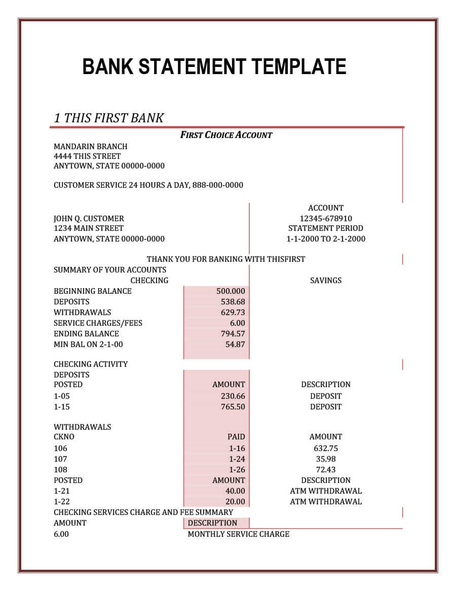 23 Editable Bank Statement Templates [Free] ᐅ Template Lab For Blank Bank Statement Template Download