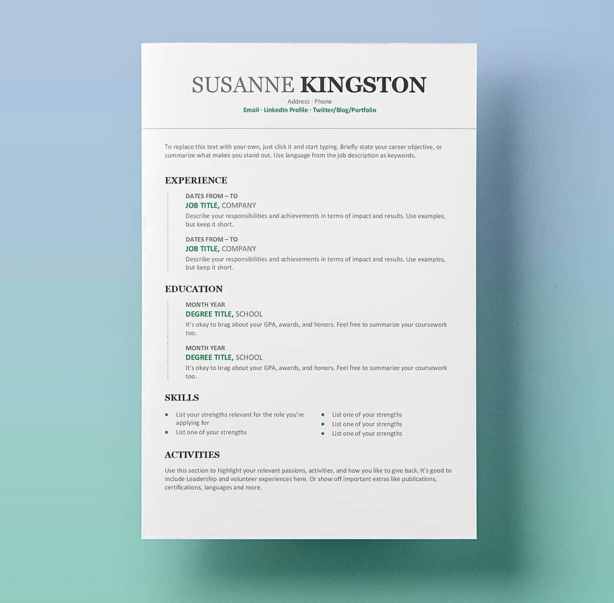 25 Resume Templates For Microsoft Word [Free Download] With Microsoft Word Resume Template Free
