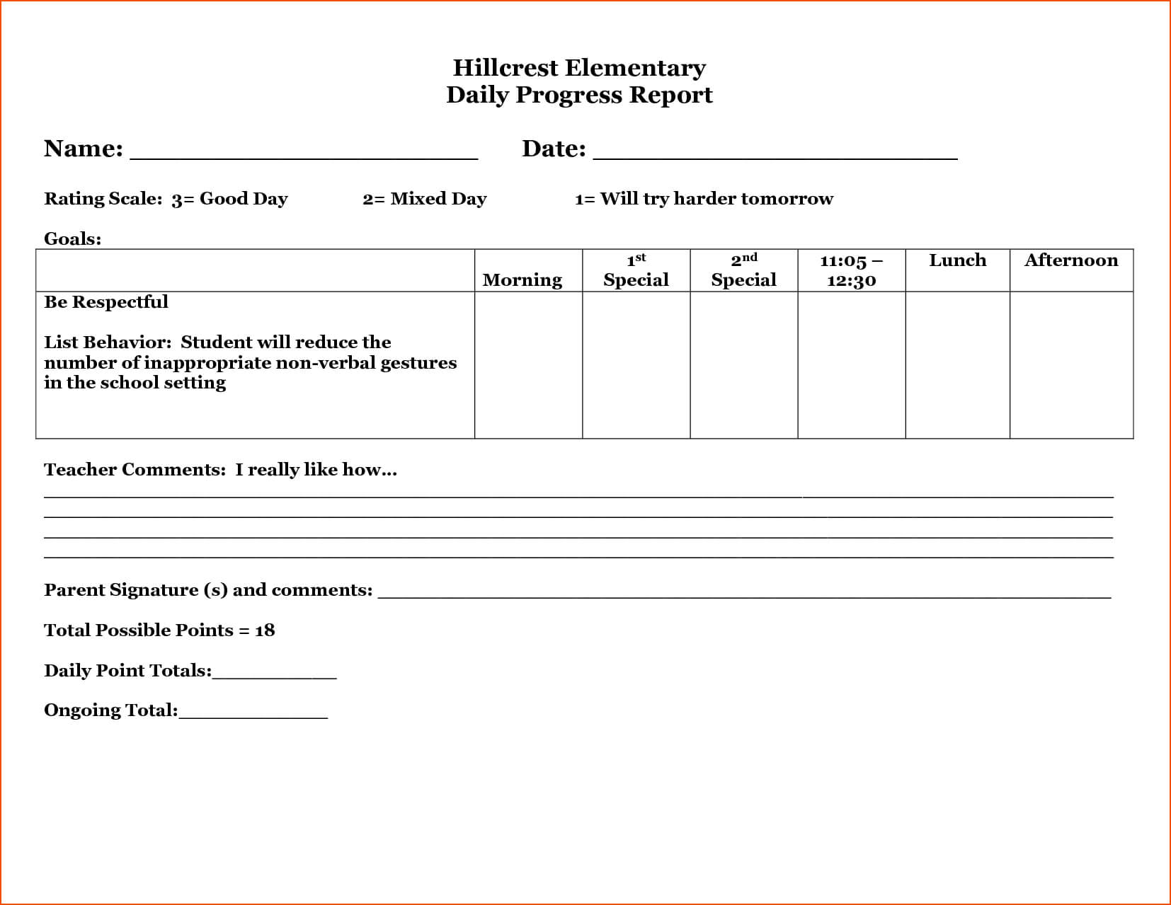 26 Images Of Student Daily Behavior Progress Report Template Pertaining To Daily Behavior Report Template
