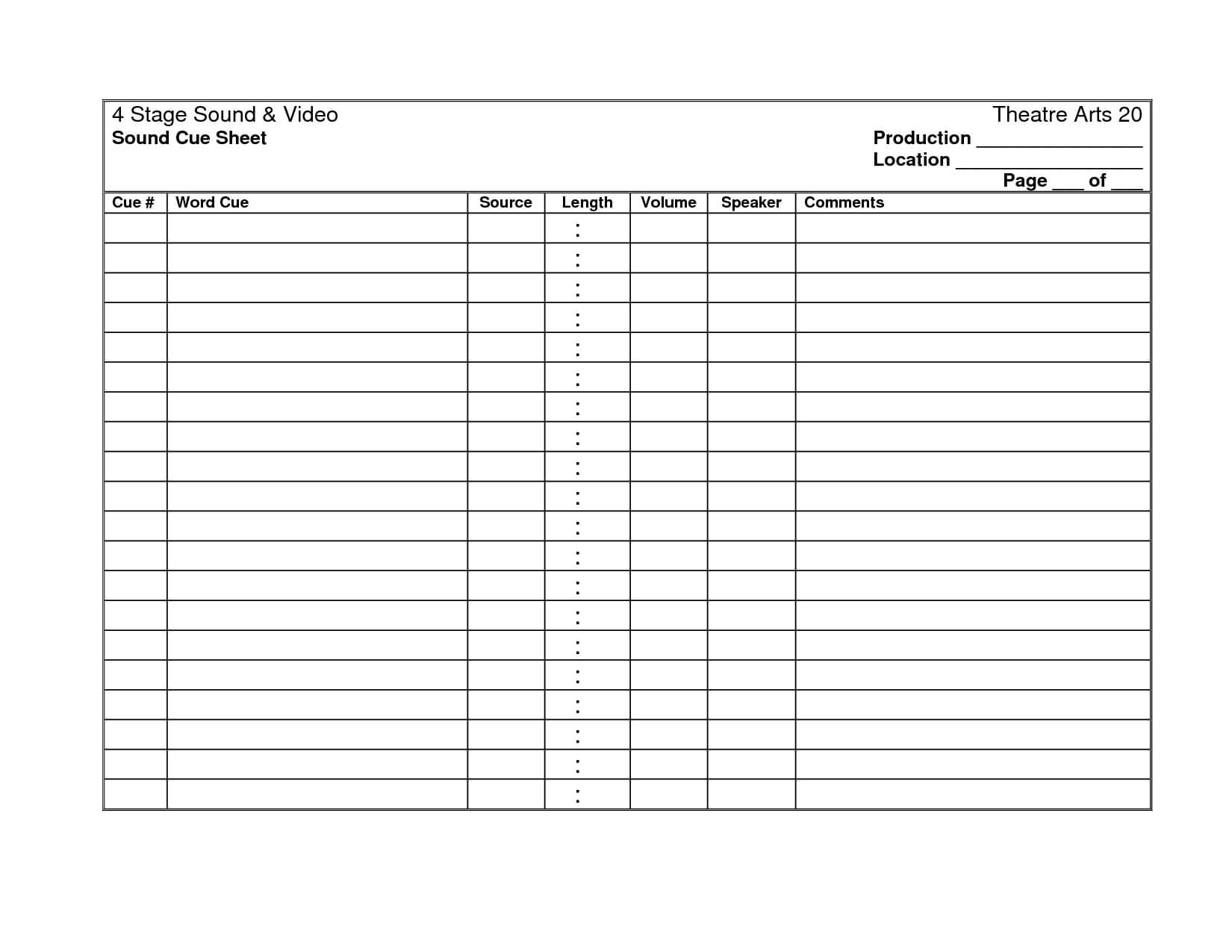 27 Images Of Cooks Production Sheet Template | Masorler Throughout Sound Report Template