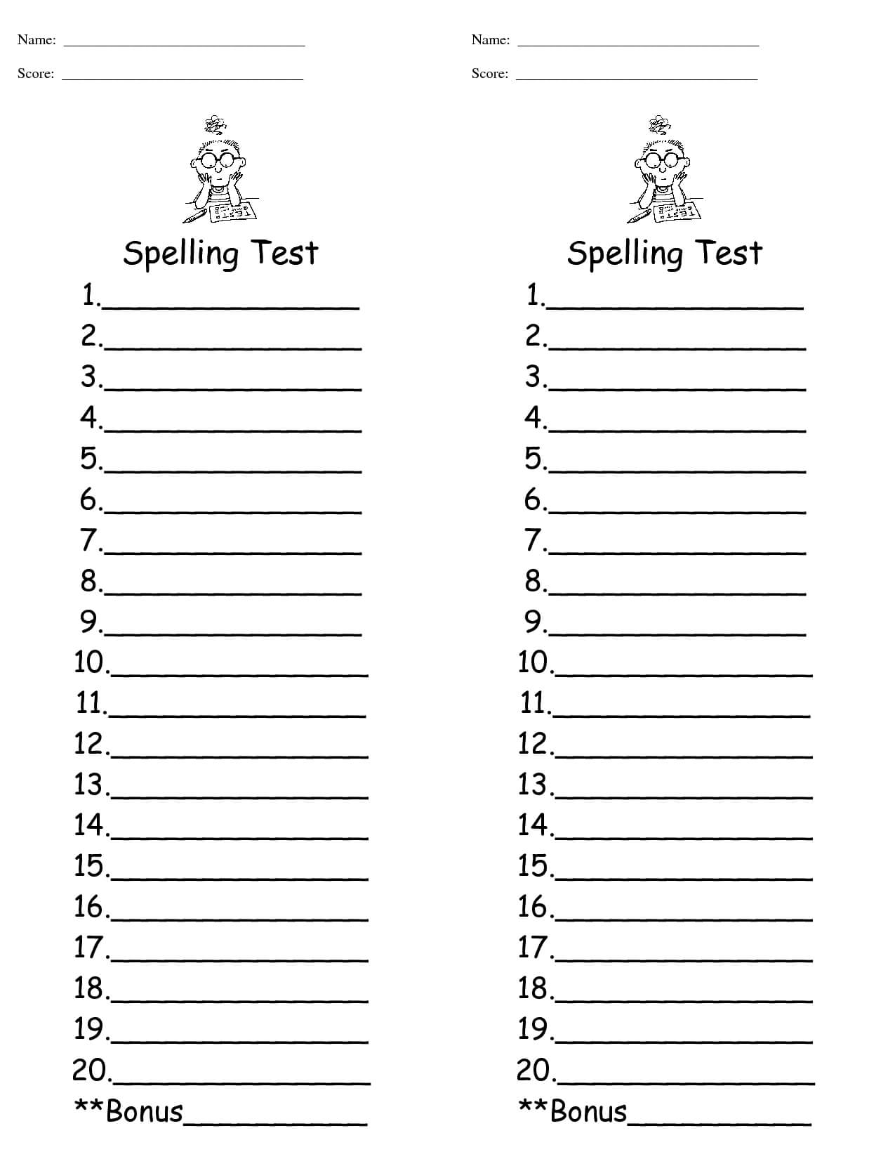 29 Images Of Spelling Words Test Template 9 | Jackmonster In Test Template For Word