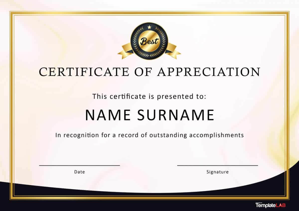 30 Free Certificate Of Appreciation Templates And Letters Pertaining To Professional Certificate Templates For Word