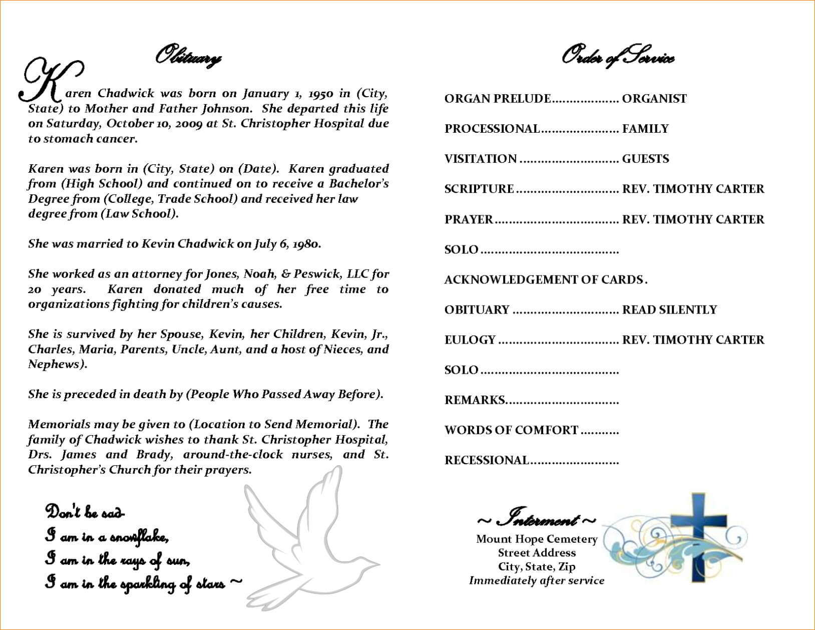 30 Obituary Template For Free | Andaluzseattle Template Example For Obituary Template Word Document