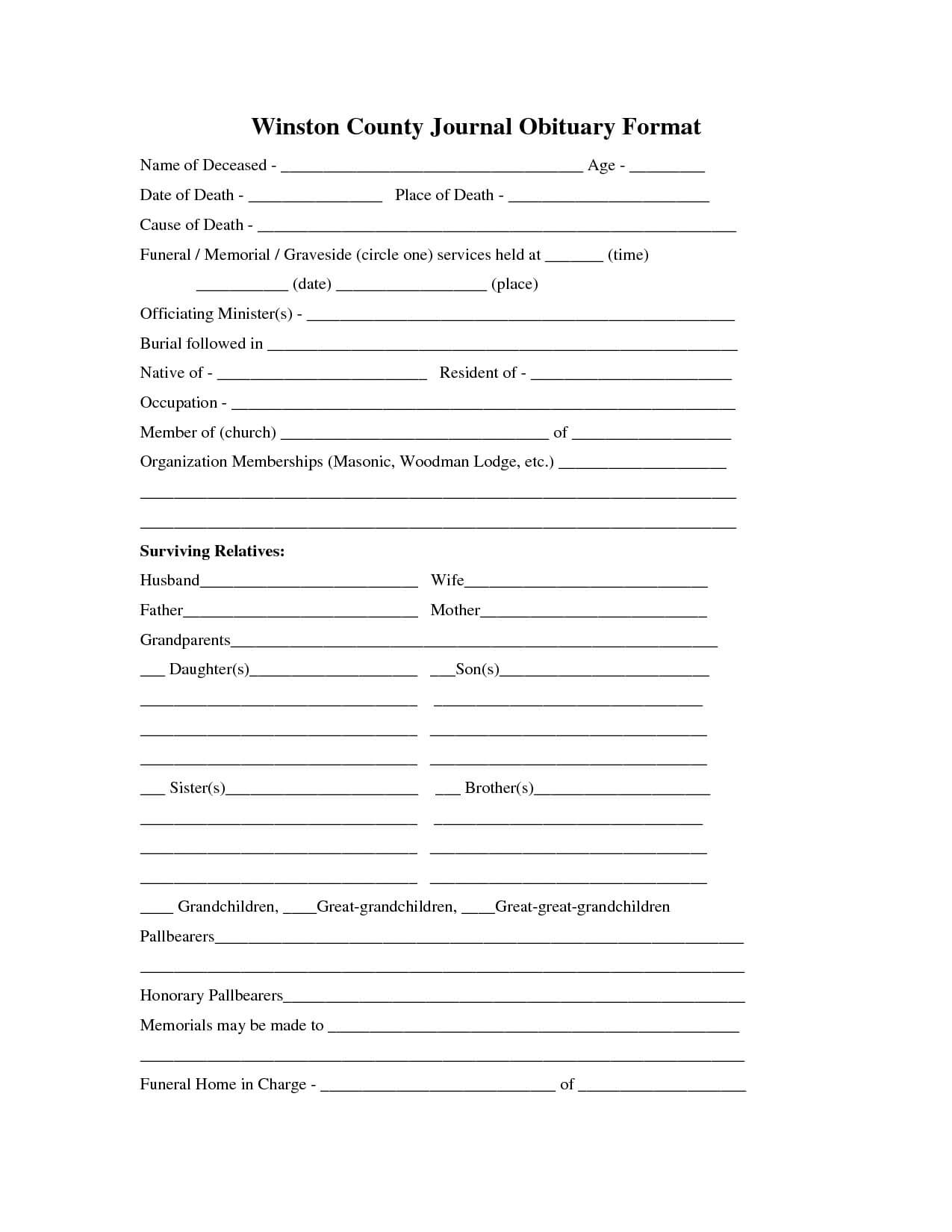 30 Obituary Template For Free   Andaluzseattle Template Example With Free Obituary Template For Microsoft Word