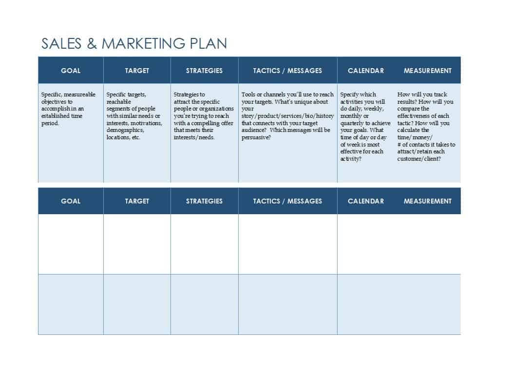 32 Sales Plan & Sales Strategy Templates [Word & Excel] Intended For Work Plan Template Word