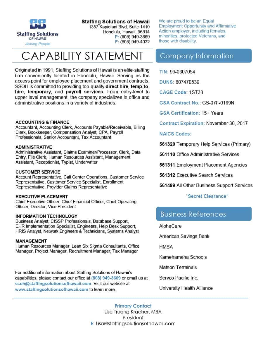 39 Effective Capability Statement Templates (+ Examples) ᐅ With Capability Statement Template Word
