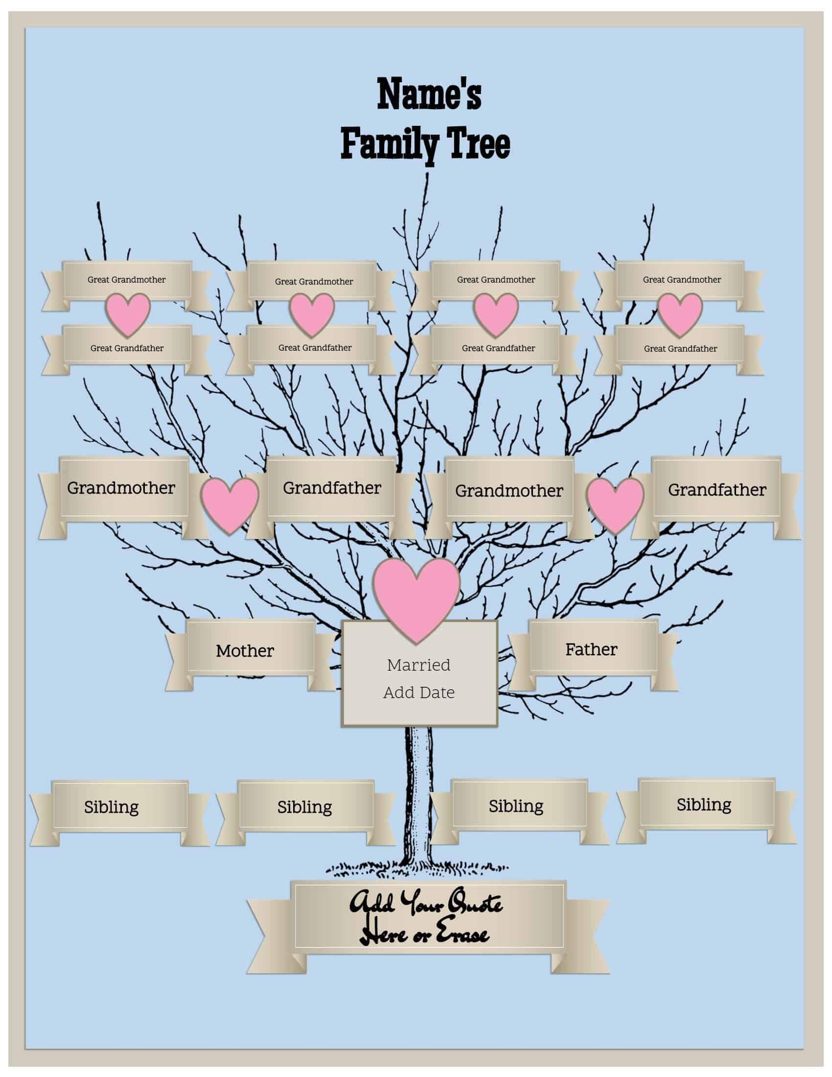 4 Generation Family Tree Template Free To Customize & Print Inside 3 Generation Family Tree Template Word