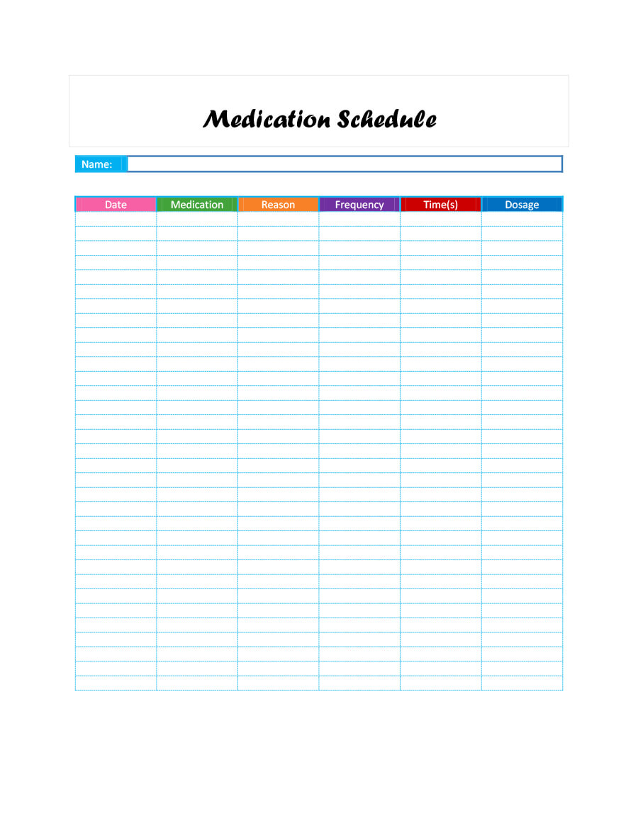 40 Great Medication Schedule Templates (+Medication Calendars) With Regard To Blank Medication List Templates