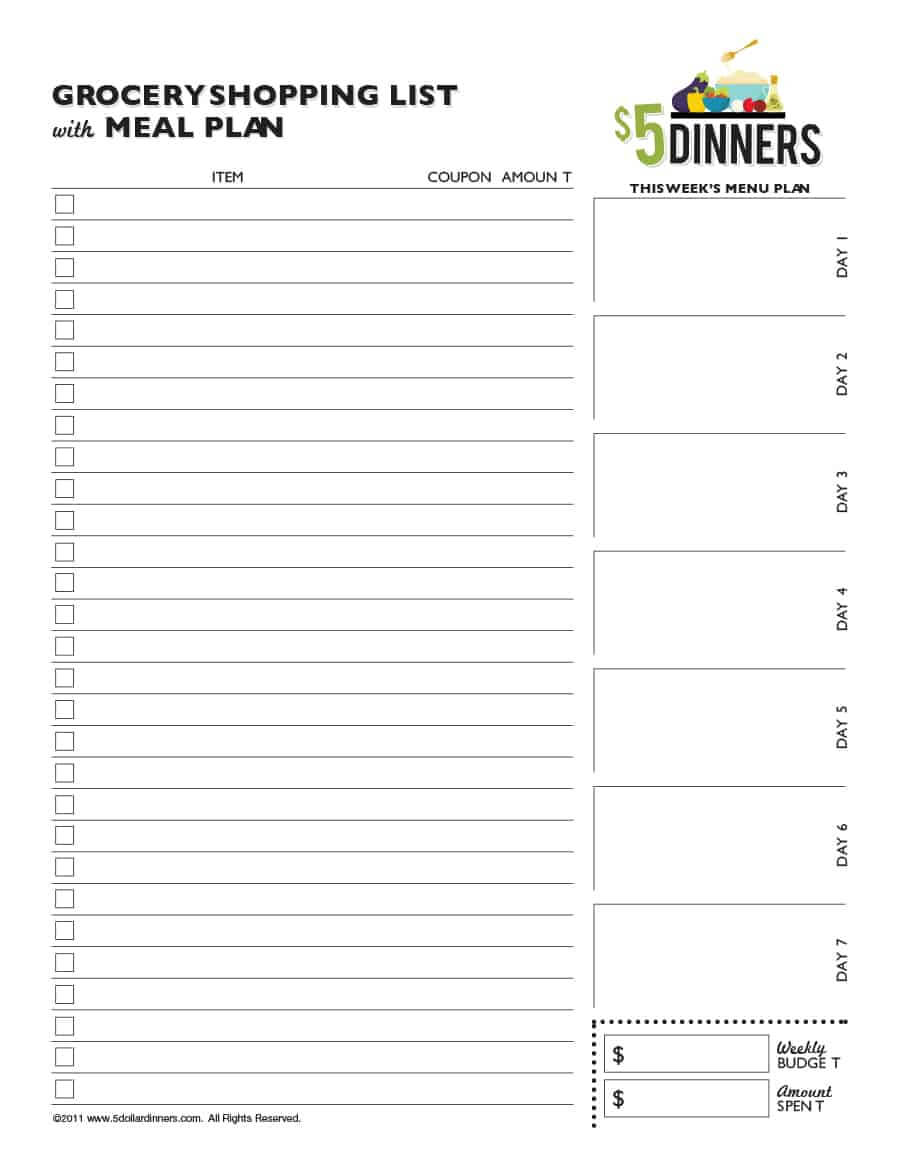 40+ Printable Grocery List Templates (Shopping List) ᐅ Intended For Blank Grocery Shopping List Template