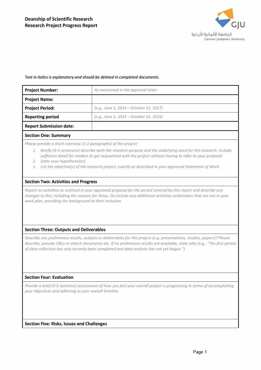 40+ Project Status Report Templates [Word, Excel, Ppt] ᐅ With Regard To Research Project Report Template