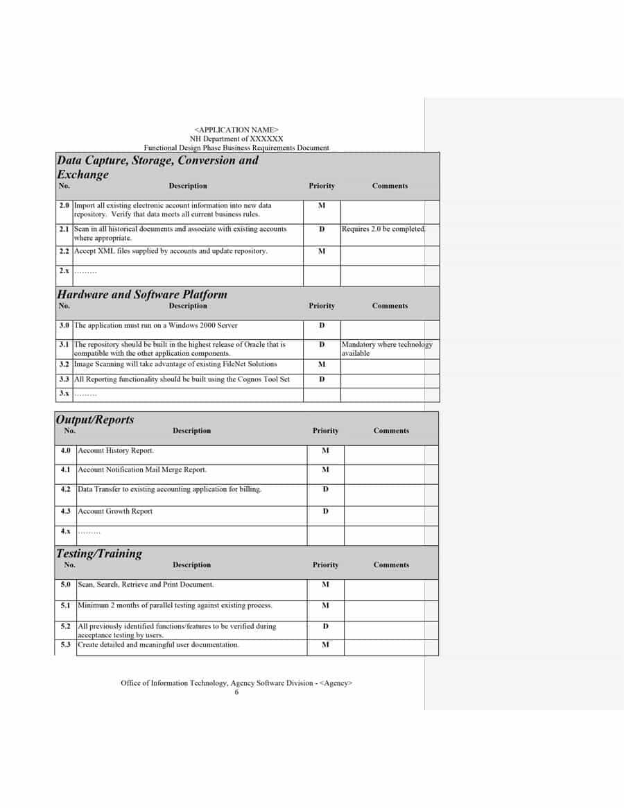 40+ Simple Business Requirements Document Templates ᐅ In Report Requirements Template