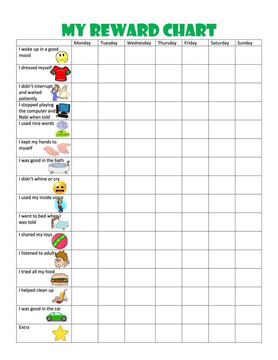 44 Printable Reward Charts For Kids (Pdf, Excel & Word) With Reward Chart Template Word