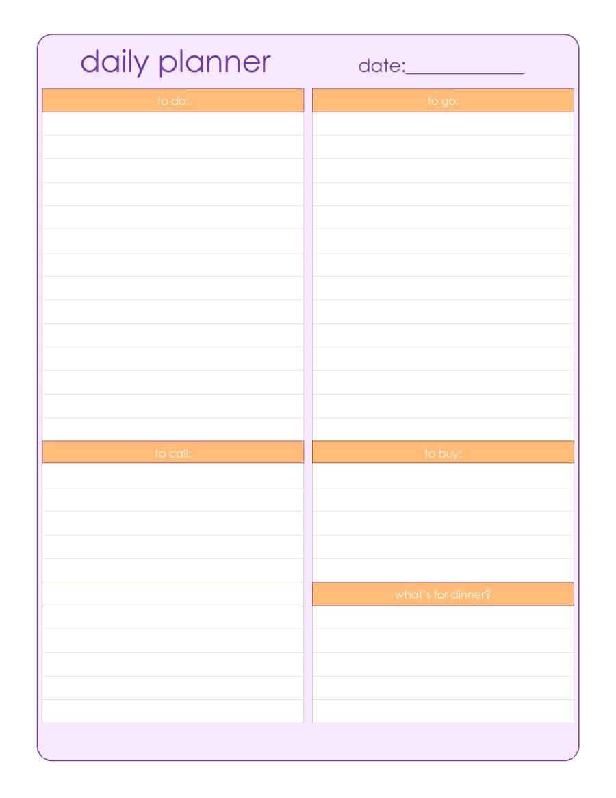 47 Printable Daily Planner Templates (Free In Word/excel/pdf) Pertaining To Printable Blank Daily Schedule Template
