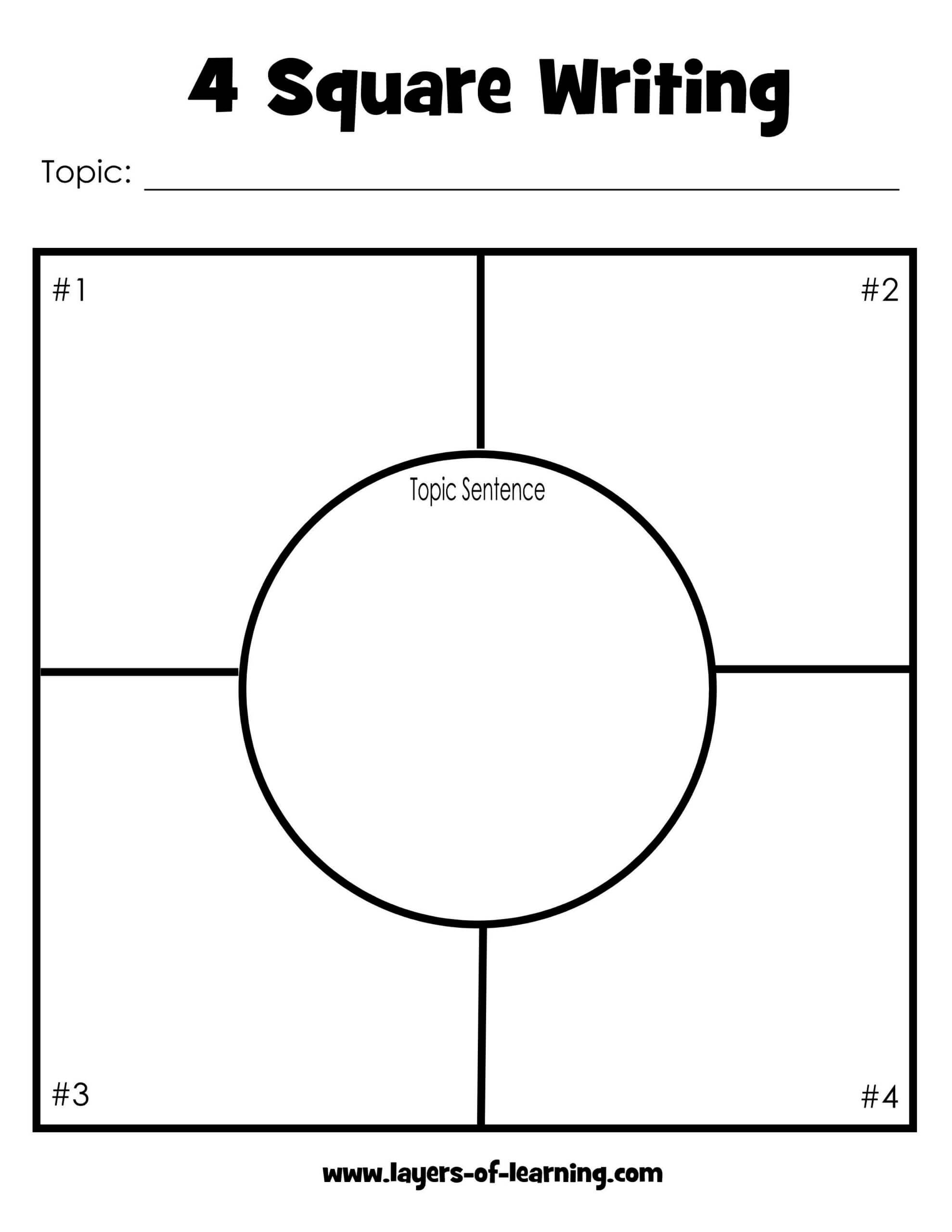 5 Best Photos Of Four Square Writing Template Printable Intended For Blank Four Square Writing Template