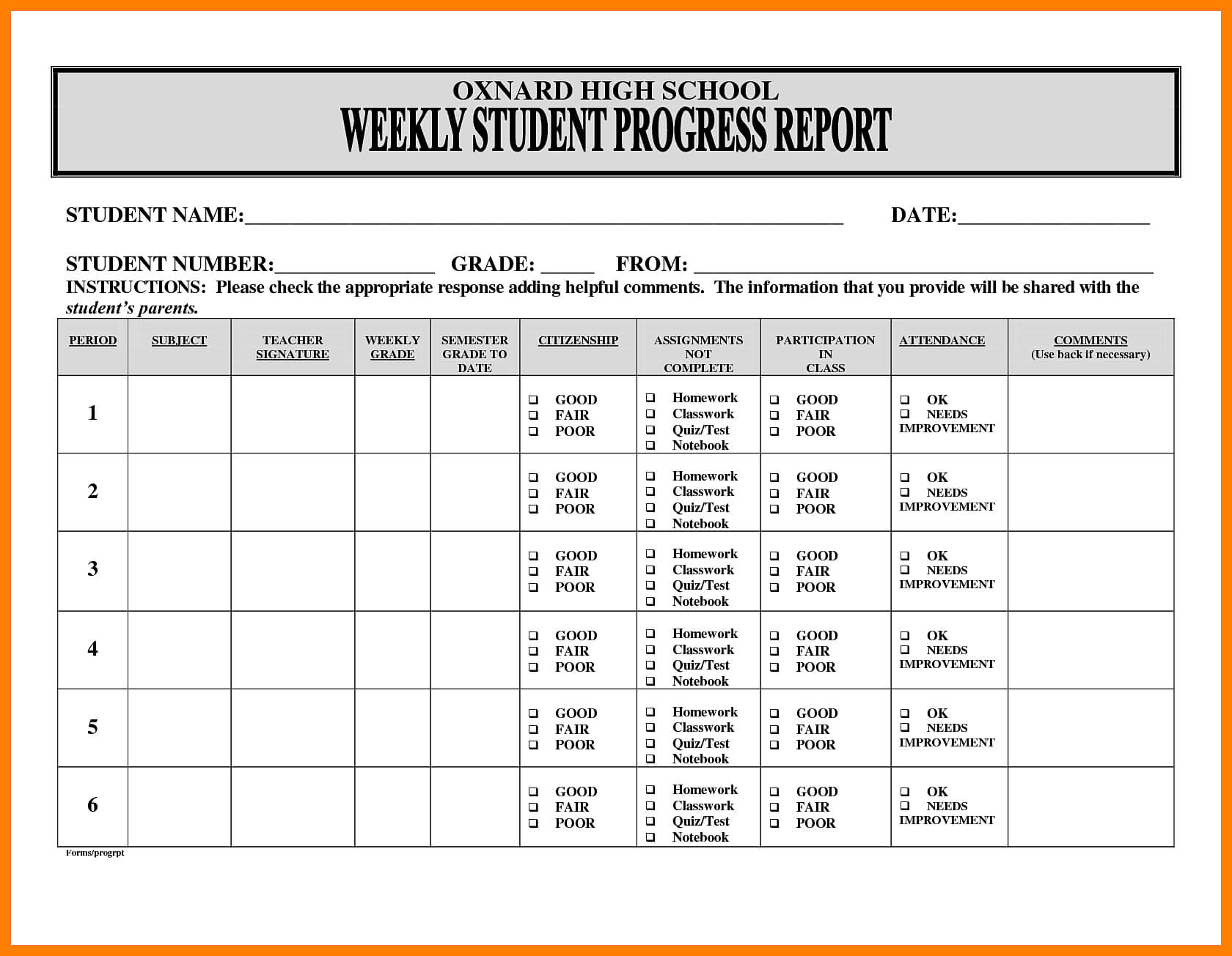 5+ Free Student Weekly Progress Report Template | Marlows In Student Progress Report Template