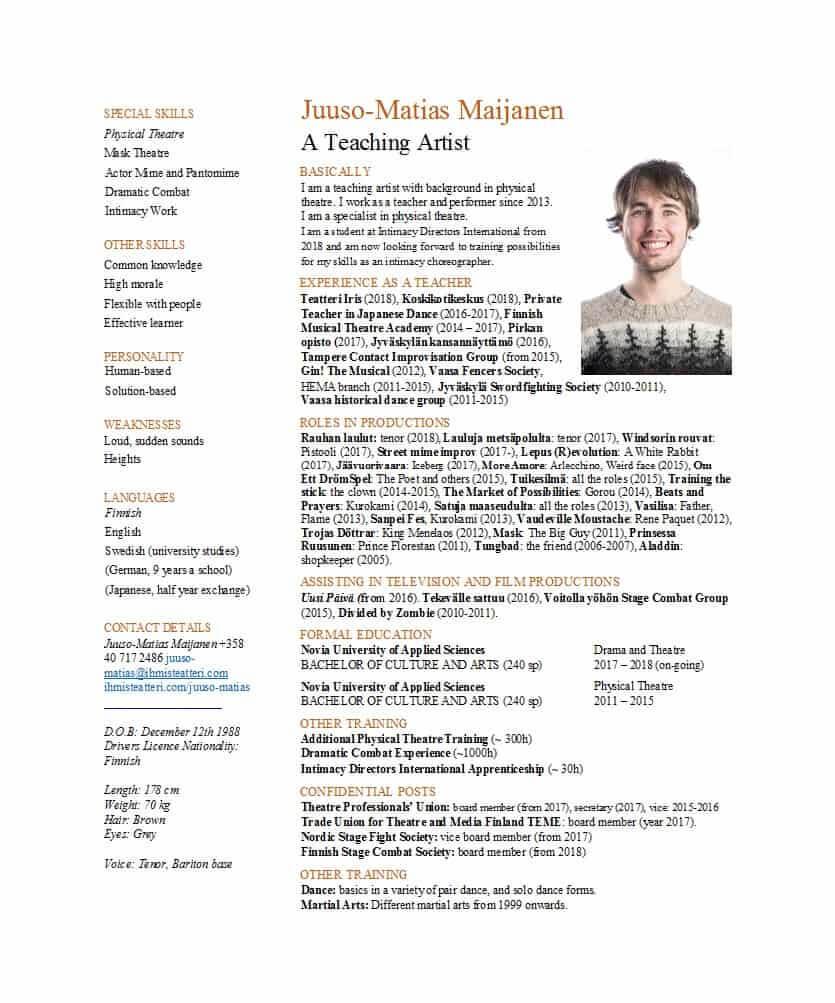 50 Free Acting Resume Templates (Word & Google Docs) ᐅ Regarding Theatrical Resume Template Word