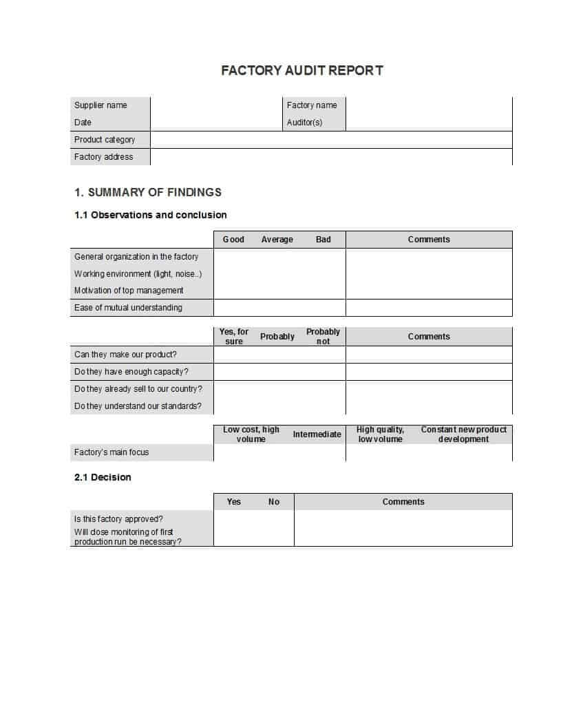 50 Free Audit Report Templates (Internal Audit Reports) ᐅ For Audit Findings Report Template