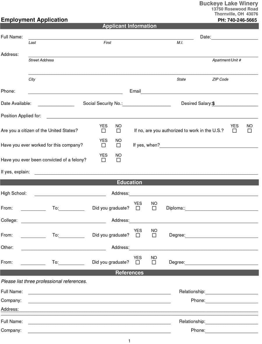 50 Free Employment / Job Application Form Templates Inside Employment Application Template Microsoft Word
