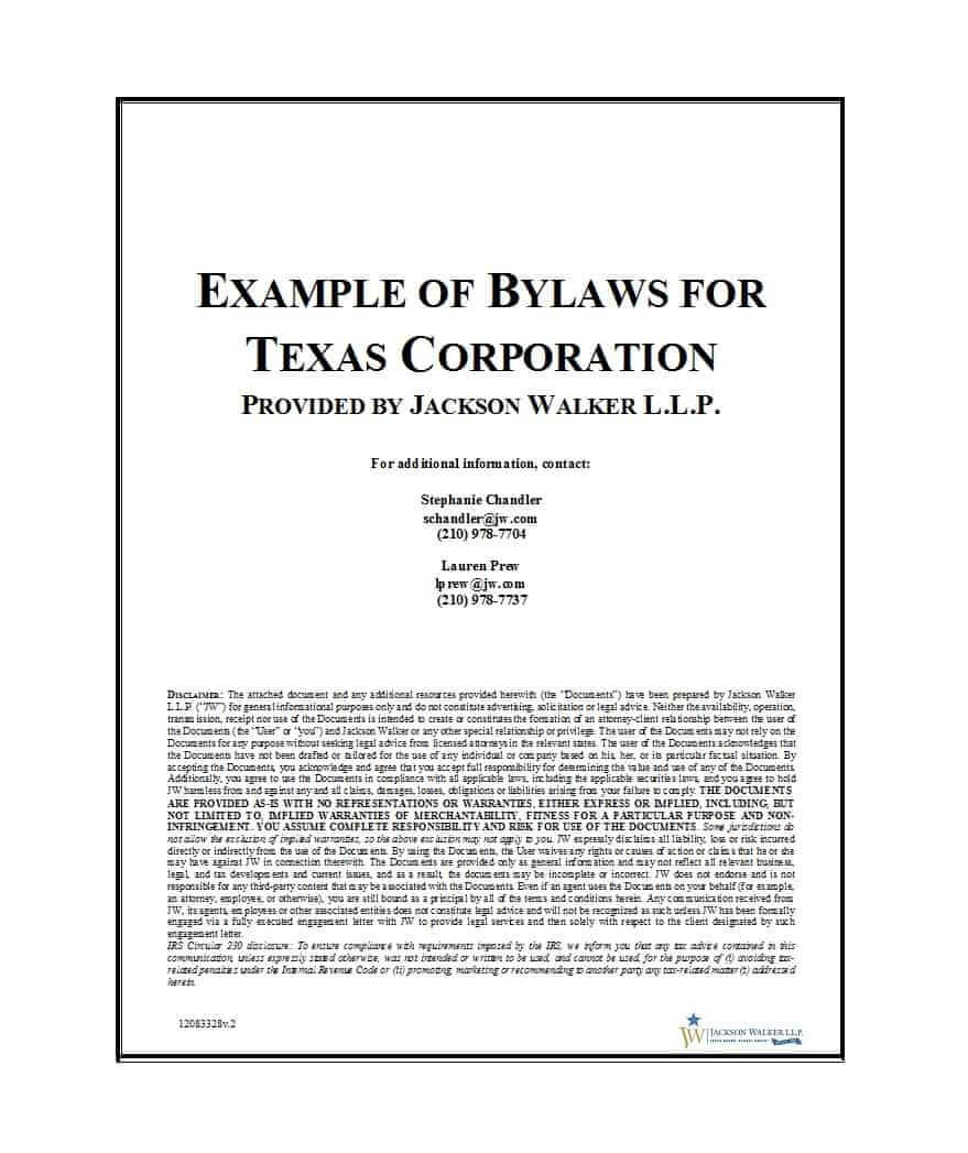 50 Simple Corporate Bylaws Templates & Samples ᐅ Template Lab Inside Corporate Bylaws Template Word