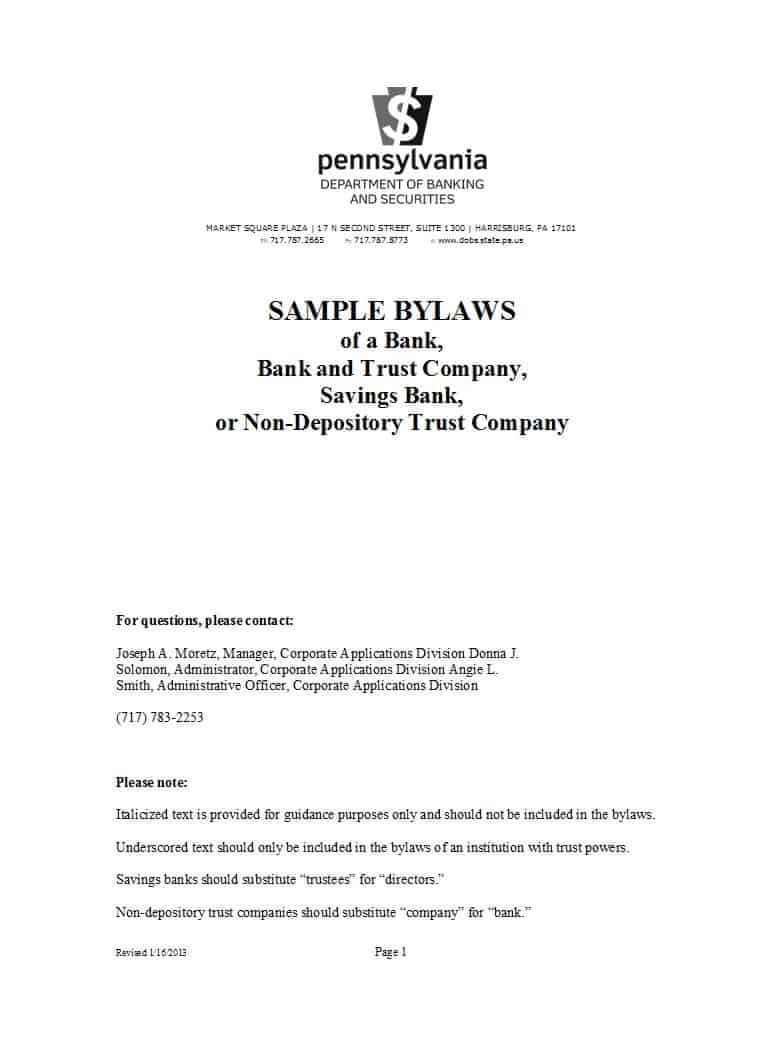 50 Simple Corporate Bylaws Templates & Samples ᐅ Template Lab Within Corporate Bylaws Template Word
