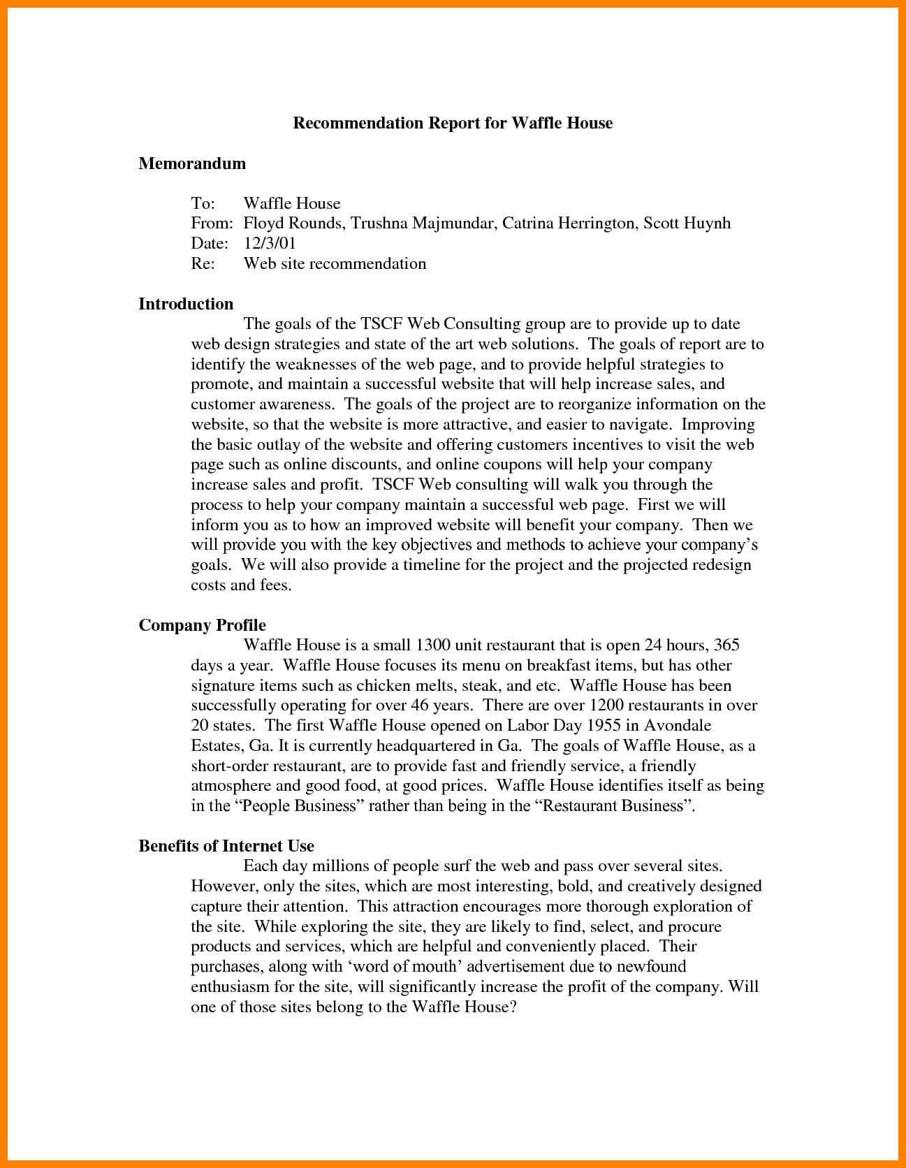 7+ Recommendation Report Example | Letter Adress Intended For Recommendation Report Template