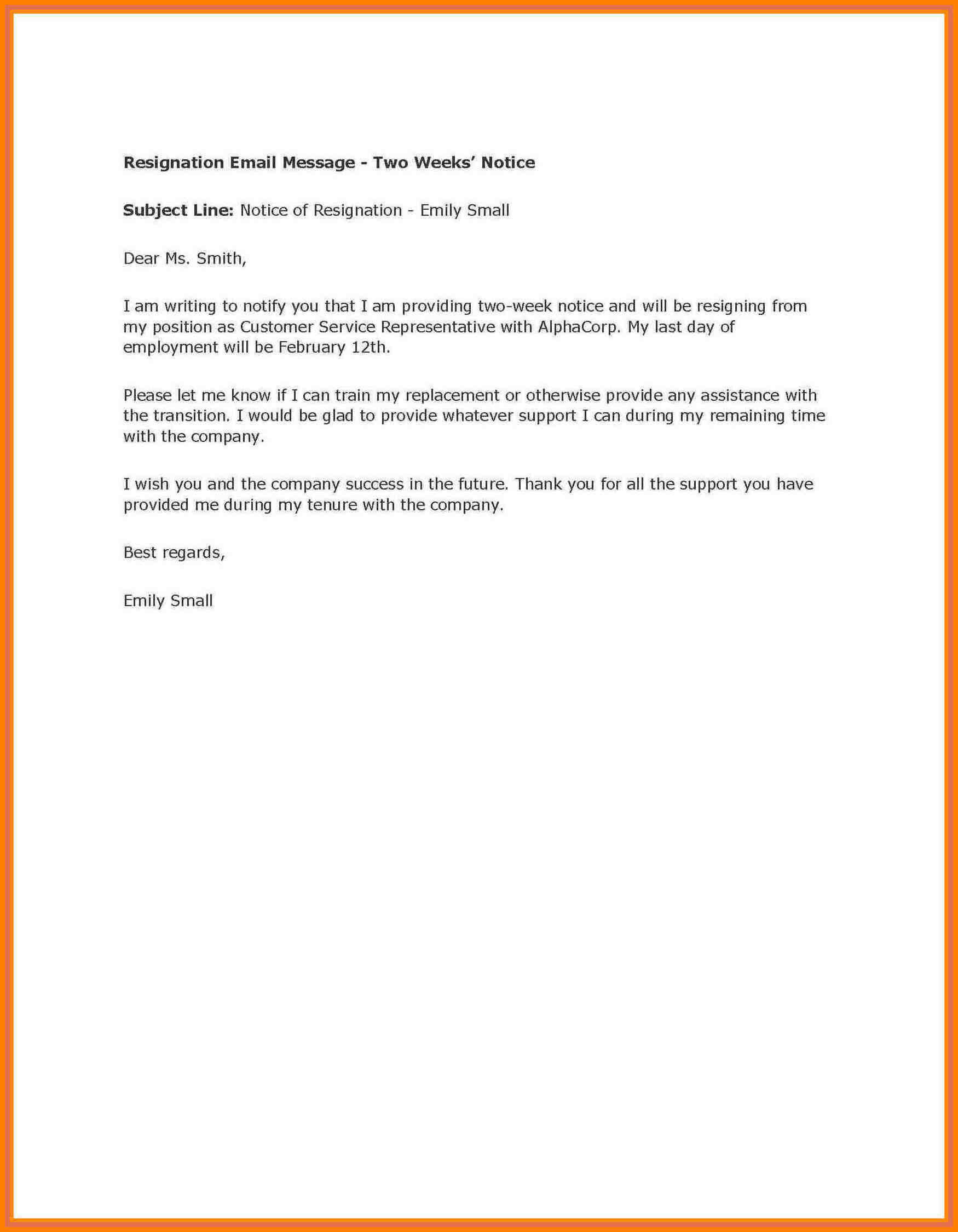 8+ Example Of Two Weeks Notice Letter | Inta Cf Intended For 2 Weeks Notice Template Word