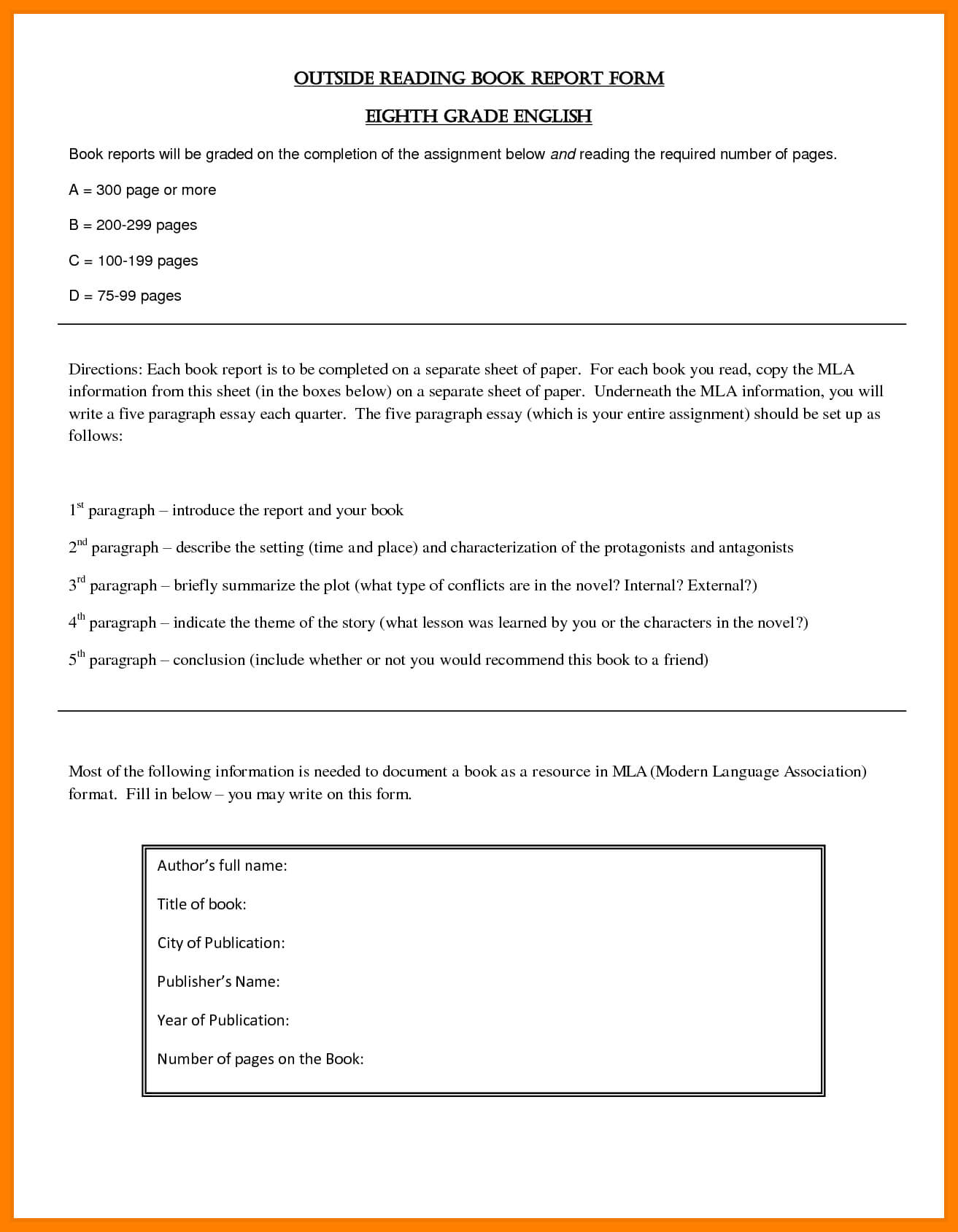 8+ Free Sample Book Reports   Shrewd Investment Throughout High School Book Report Template